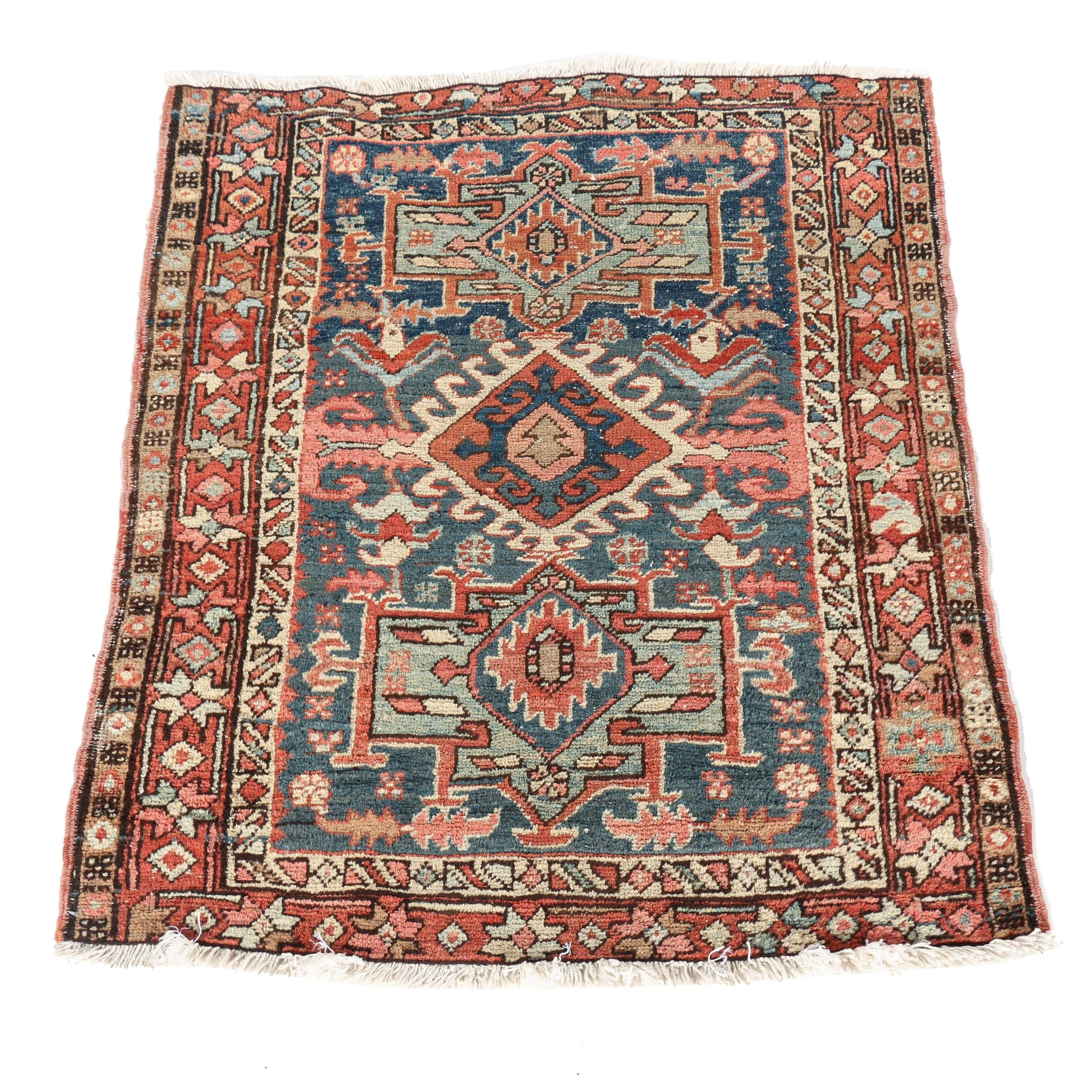 Semi-Antique Hand-Knotted Caucasian Accent Rug