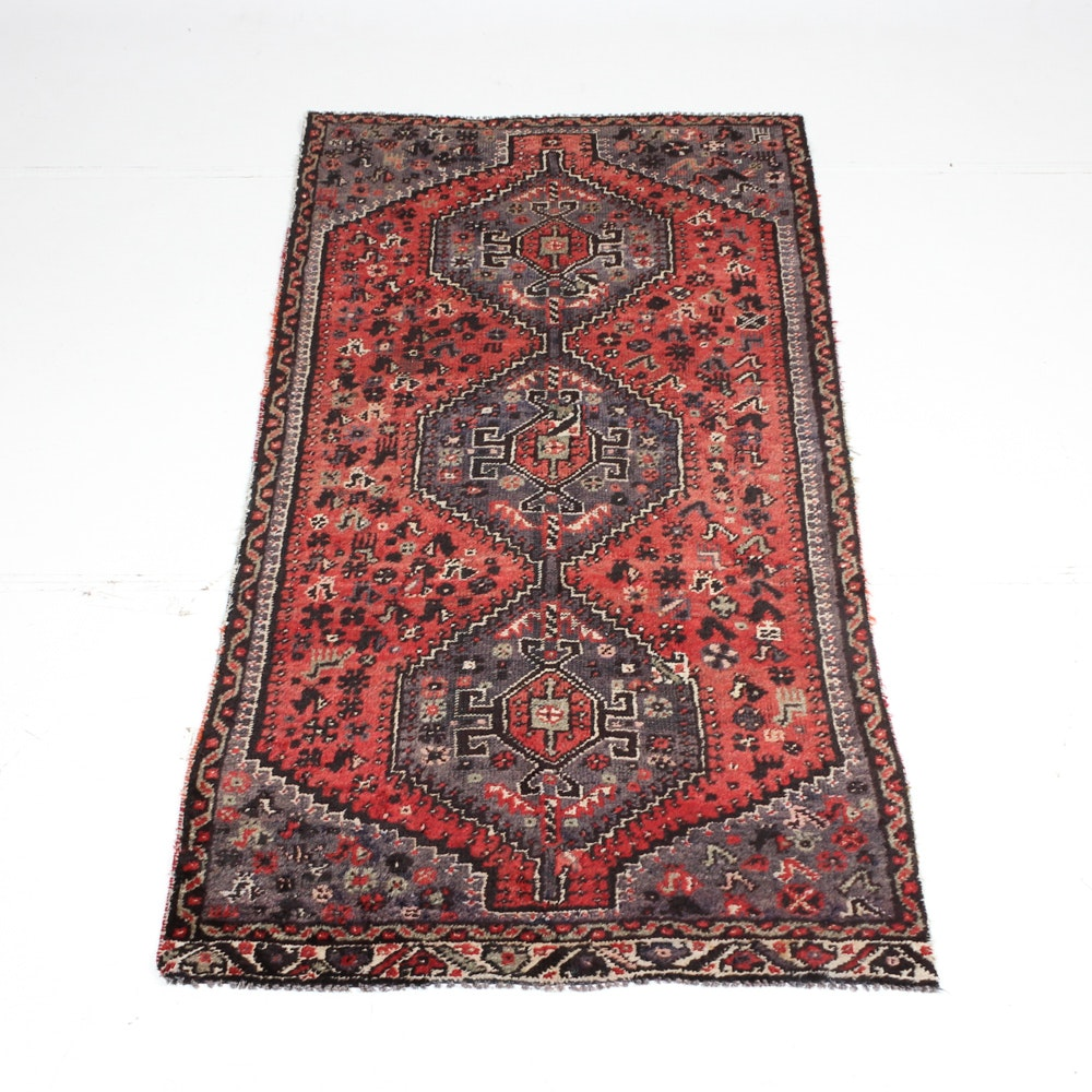 Semi-Antique Hand Knotted Persian Shiraz Area Rug