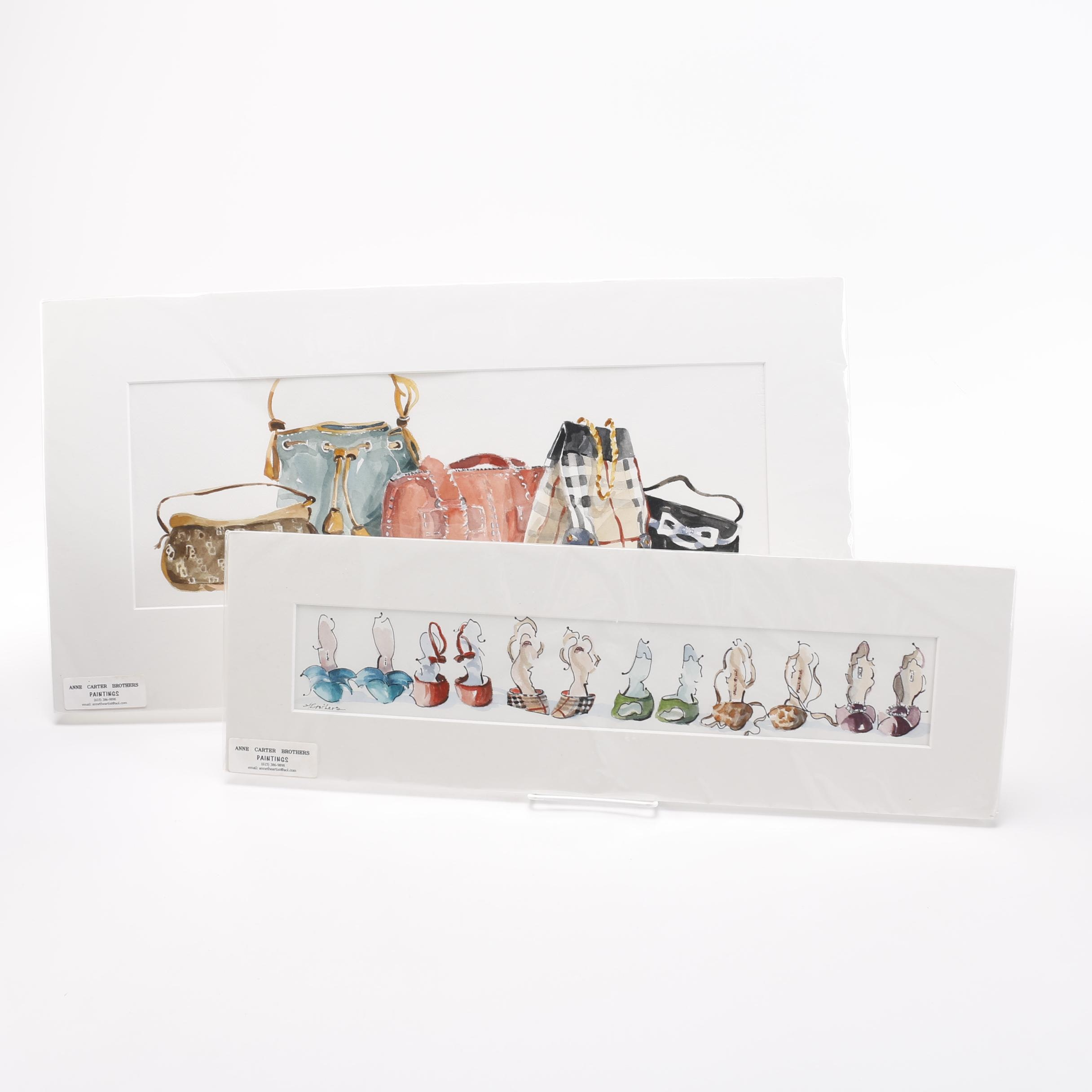 Anne Carter Brothers Watercolors of Shoes and Purses
