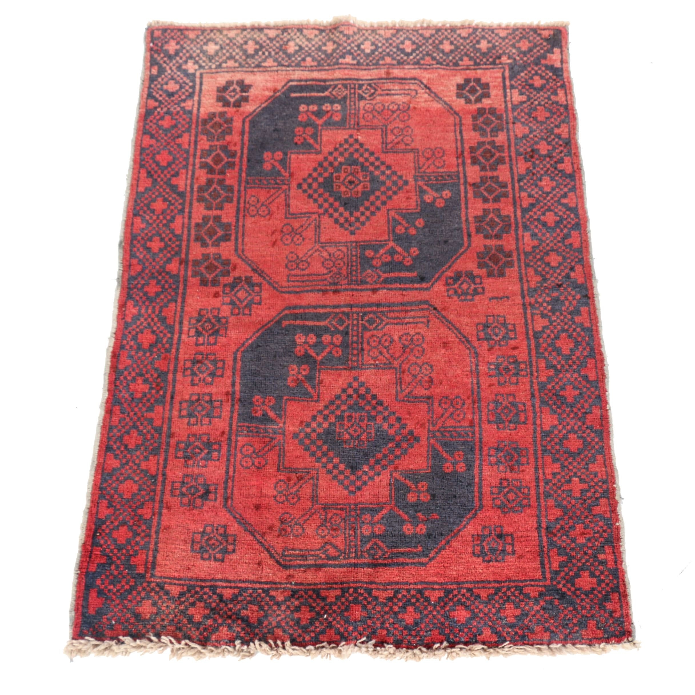 Hand-Knotted Afghan Accent Rug