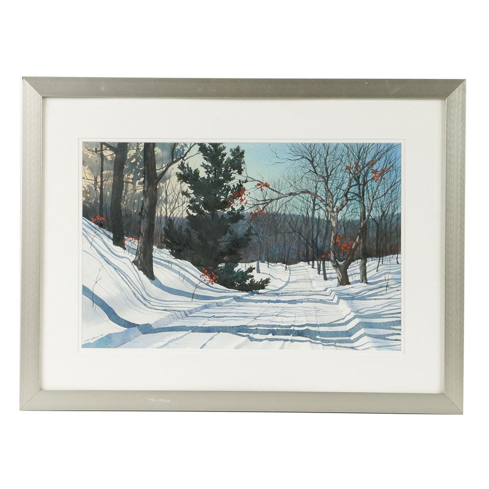 Scott Hartley Watercolor Painting on Paper Winterscape
