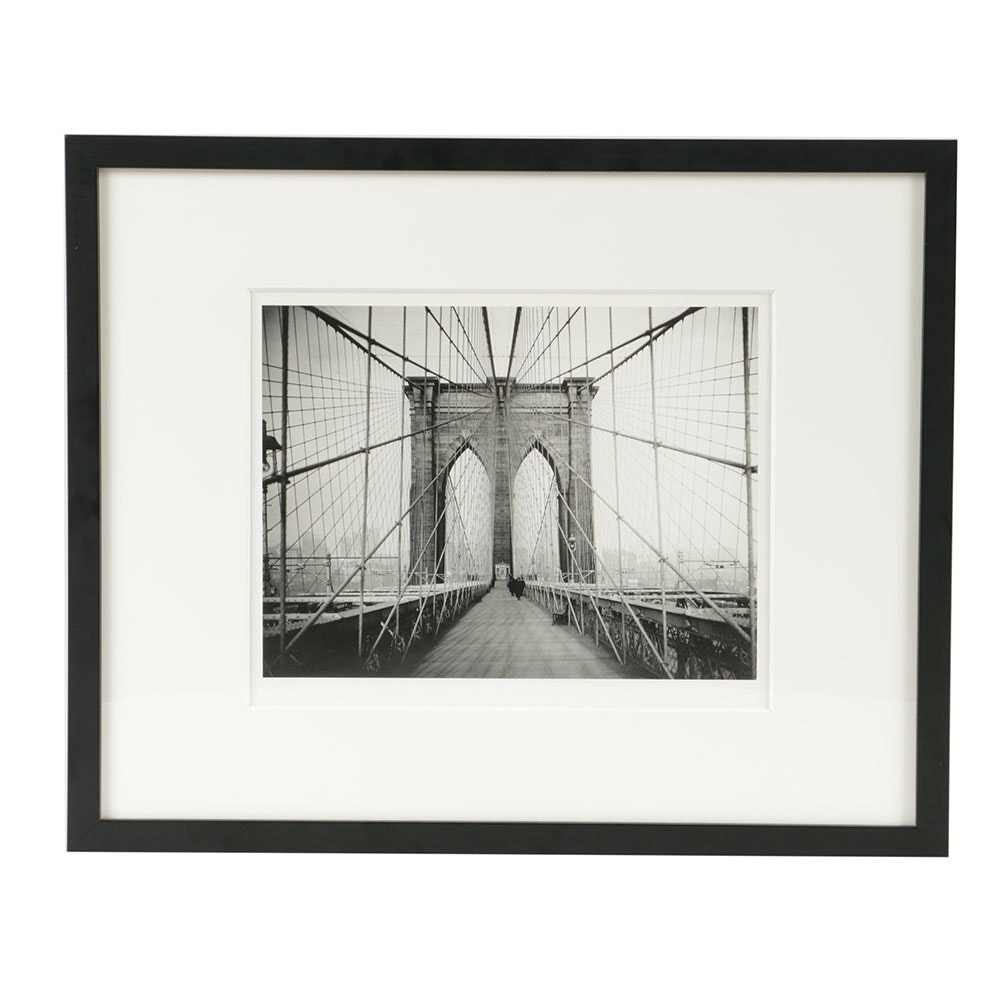 Digital Inkjet Reproduction Photograph on Paper of Brooklyn Bridge