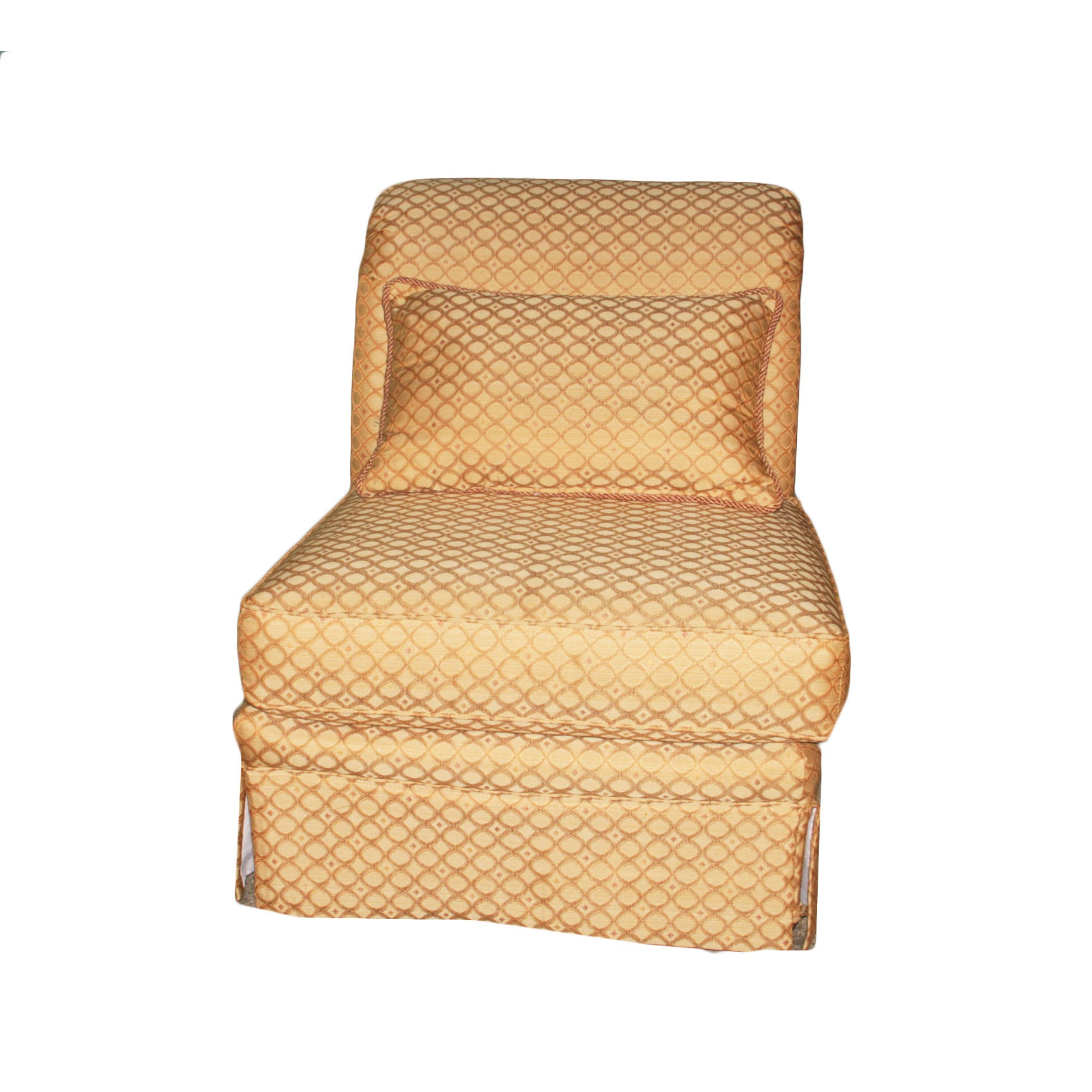 Lane Upholstered Rolled Back Chair in Gold Brocade
