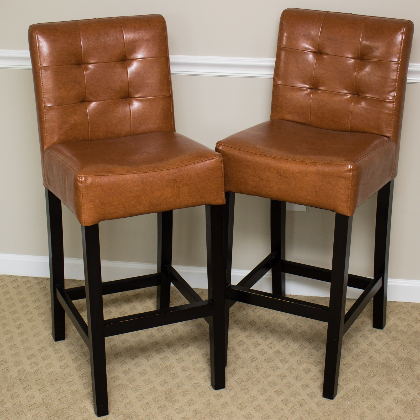 Pair of Cognac Faux Leather Bar Stools