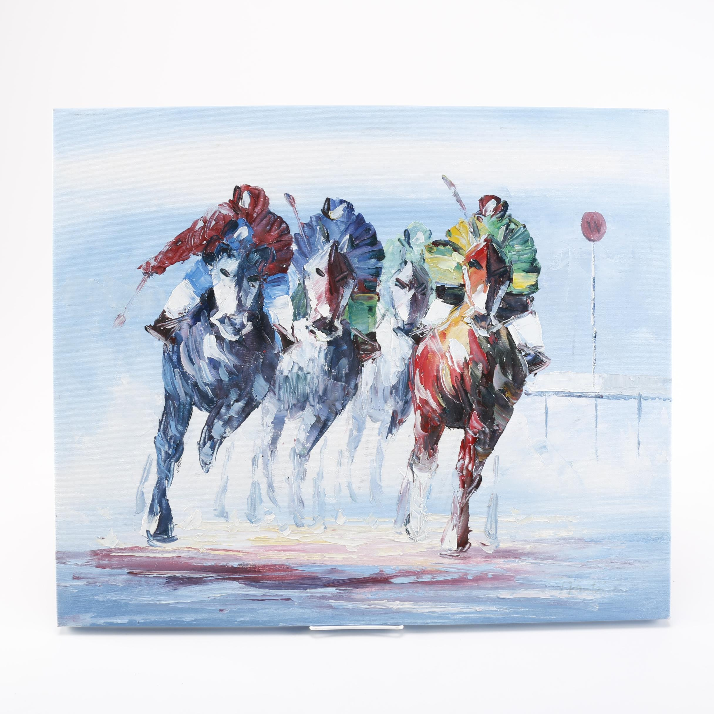 Oil Painting on Canvas of Horse Race