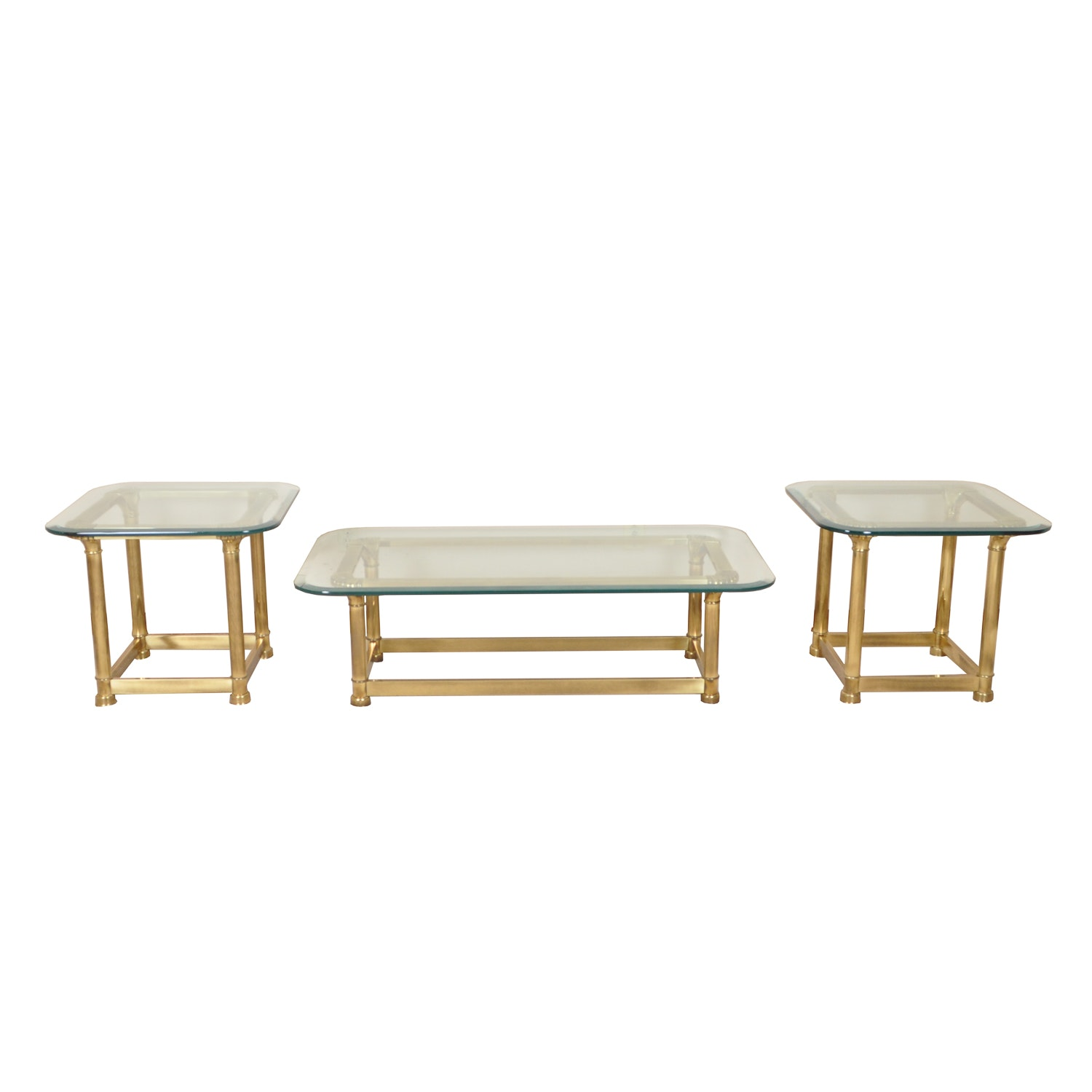 Glass-Top Brass Coffee Table with Matching End Tables