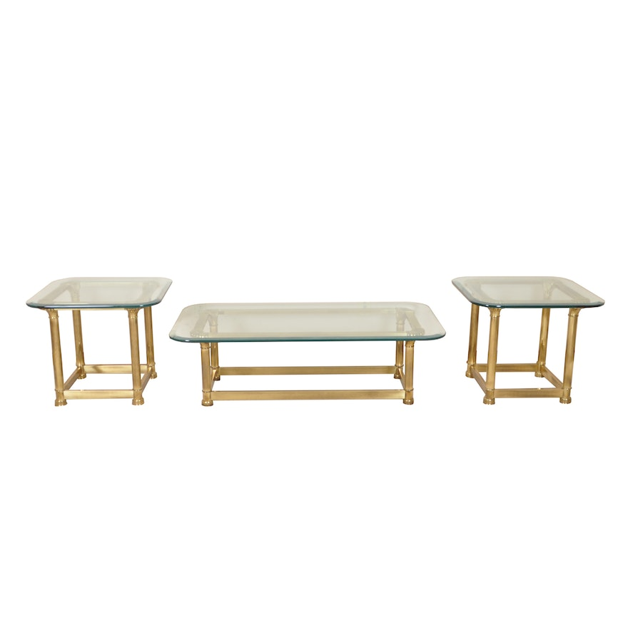 Glass Top Brass Coffee Table With Matching End Tables Ebth