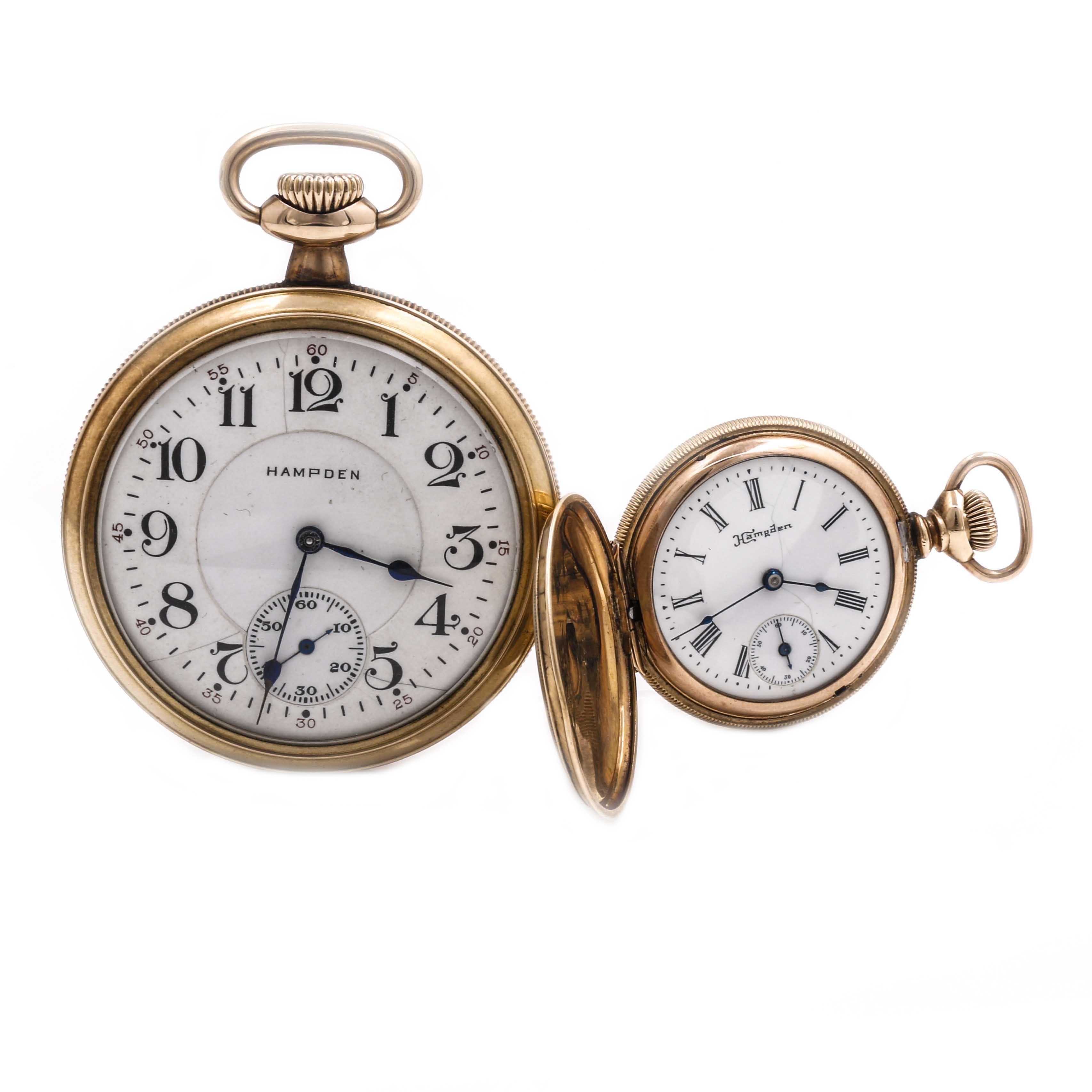Antique Gold Filled Hampden Pocket Watches