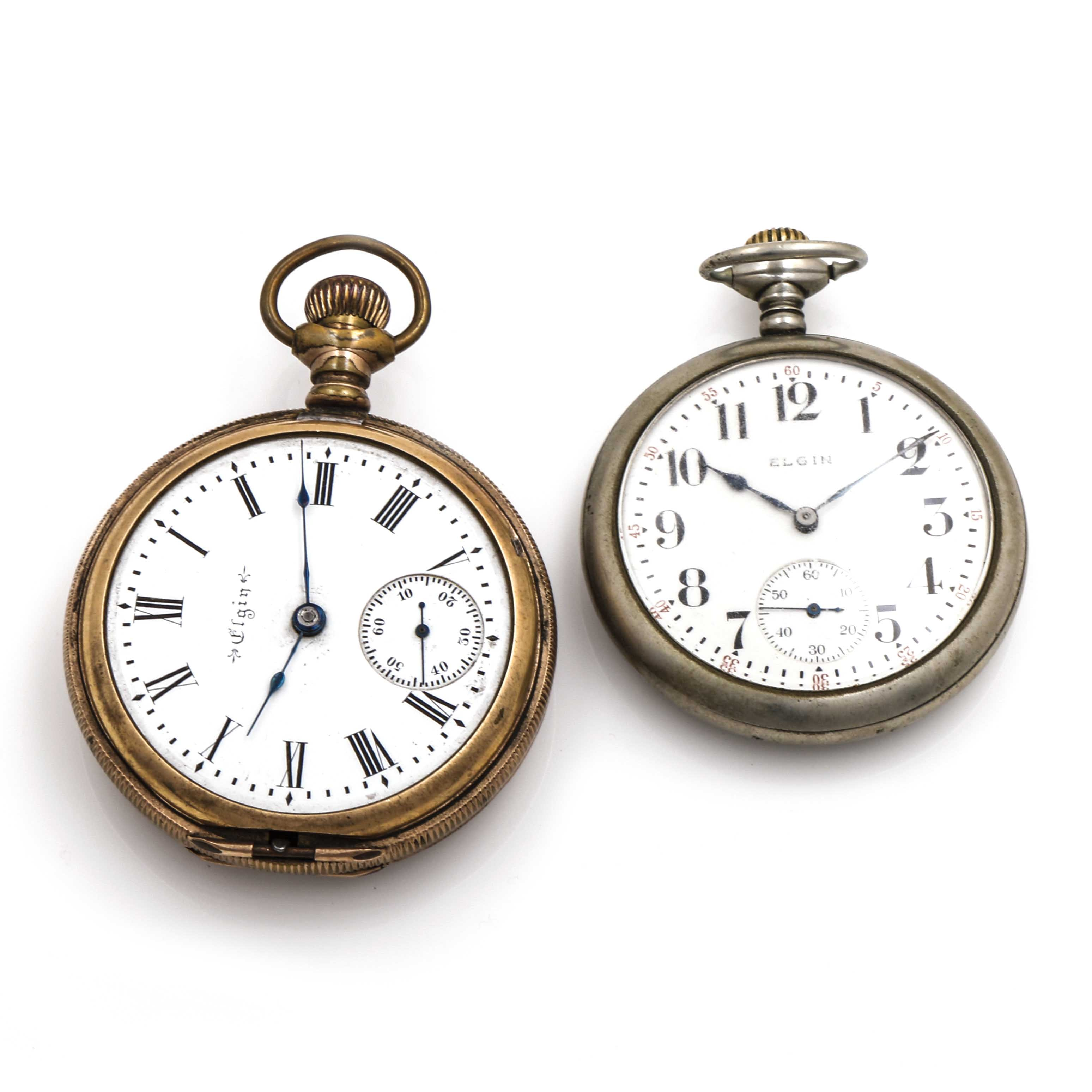 Antique Silver and Gold Tone Elgin Pocket Watches