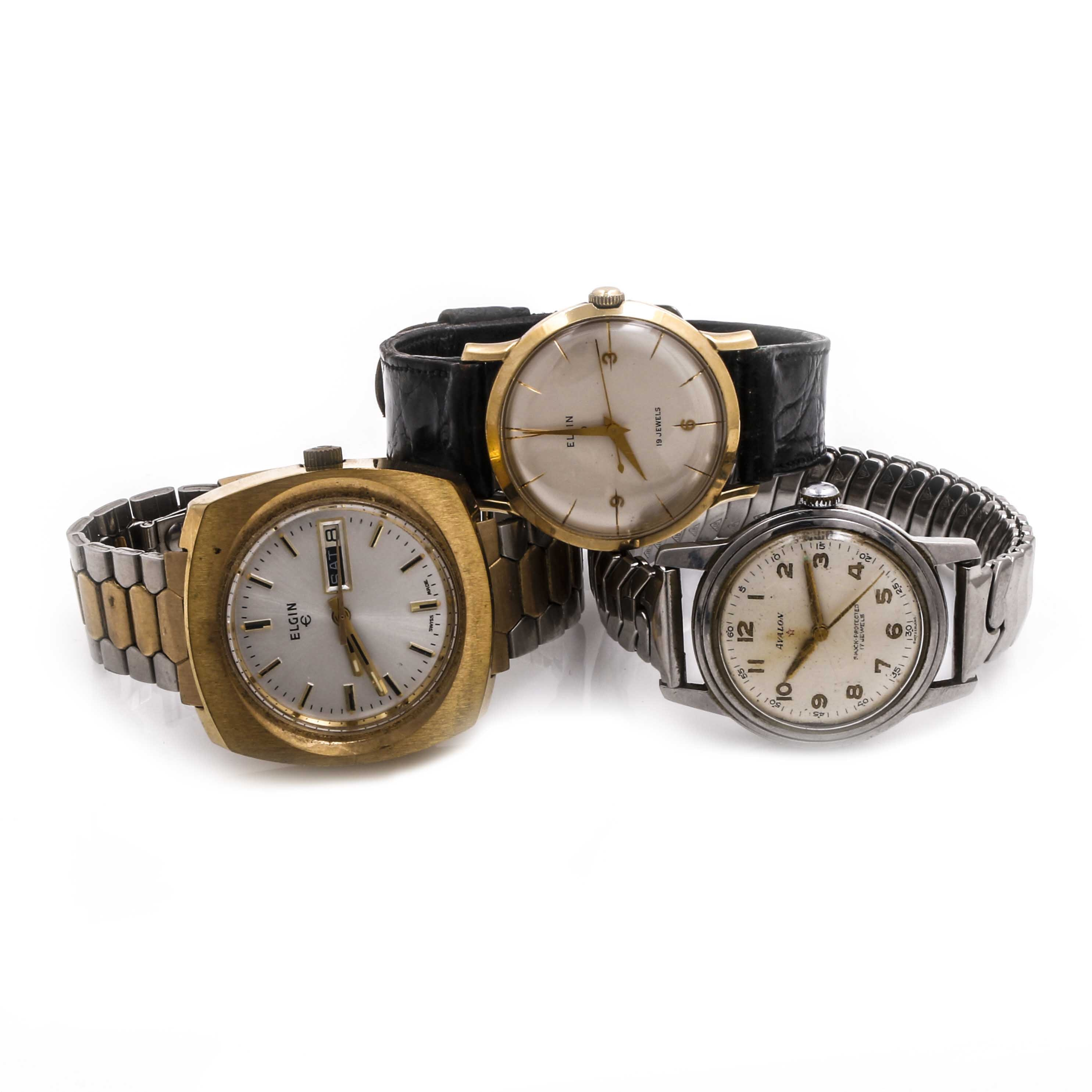 Silver and Gold Tone Elgin and Avalon Wristwatches