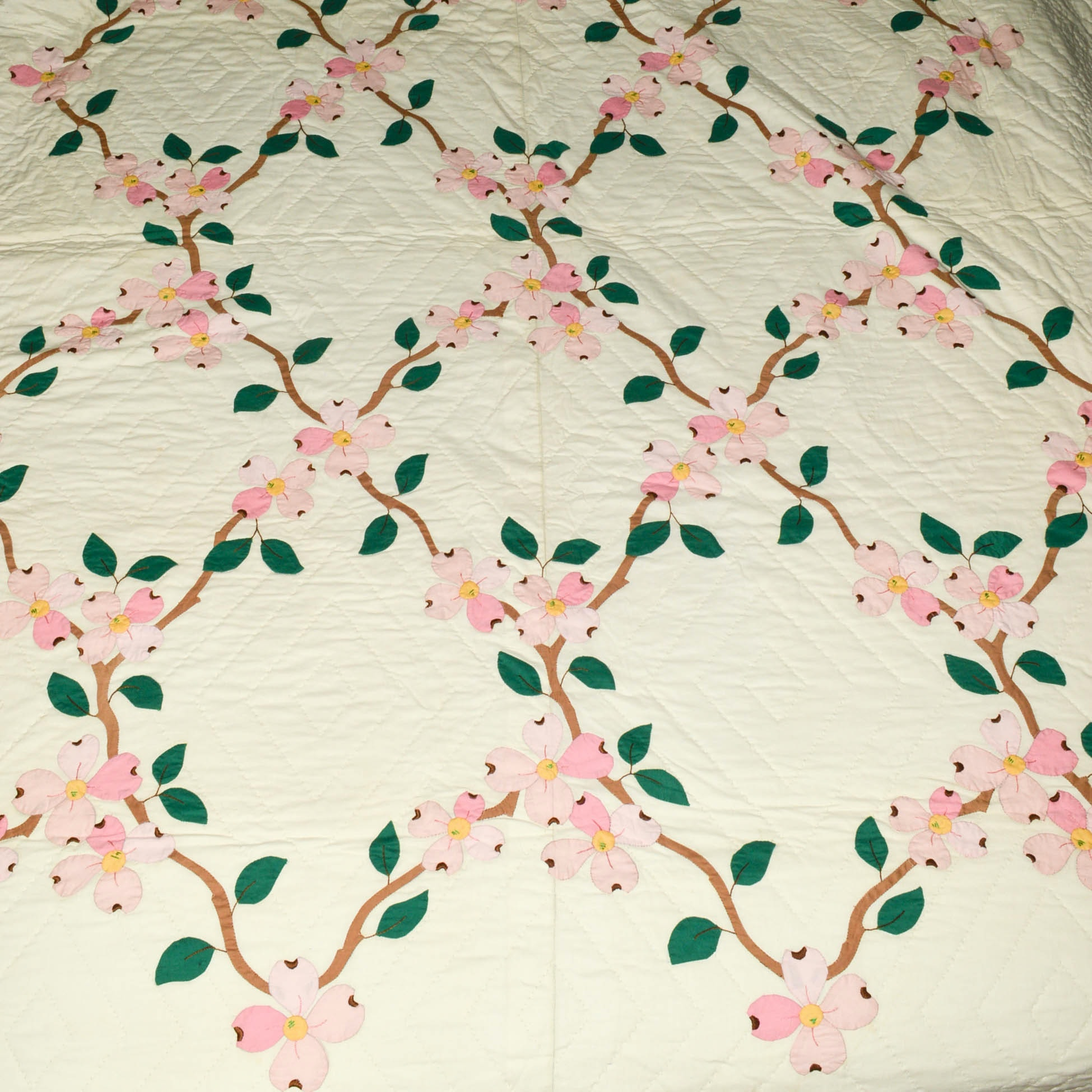 Hand Stitched and Hand Appliquéd Full-Size Dogwood Quilt