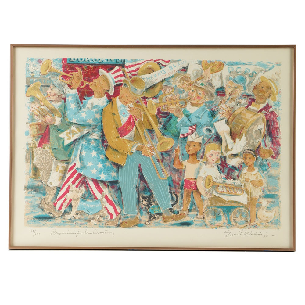 "Emil Weddige Limited Edition Lithograph on Paper ""Requiem for Louis Armstrong"""