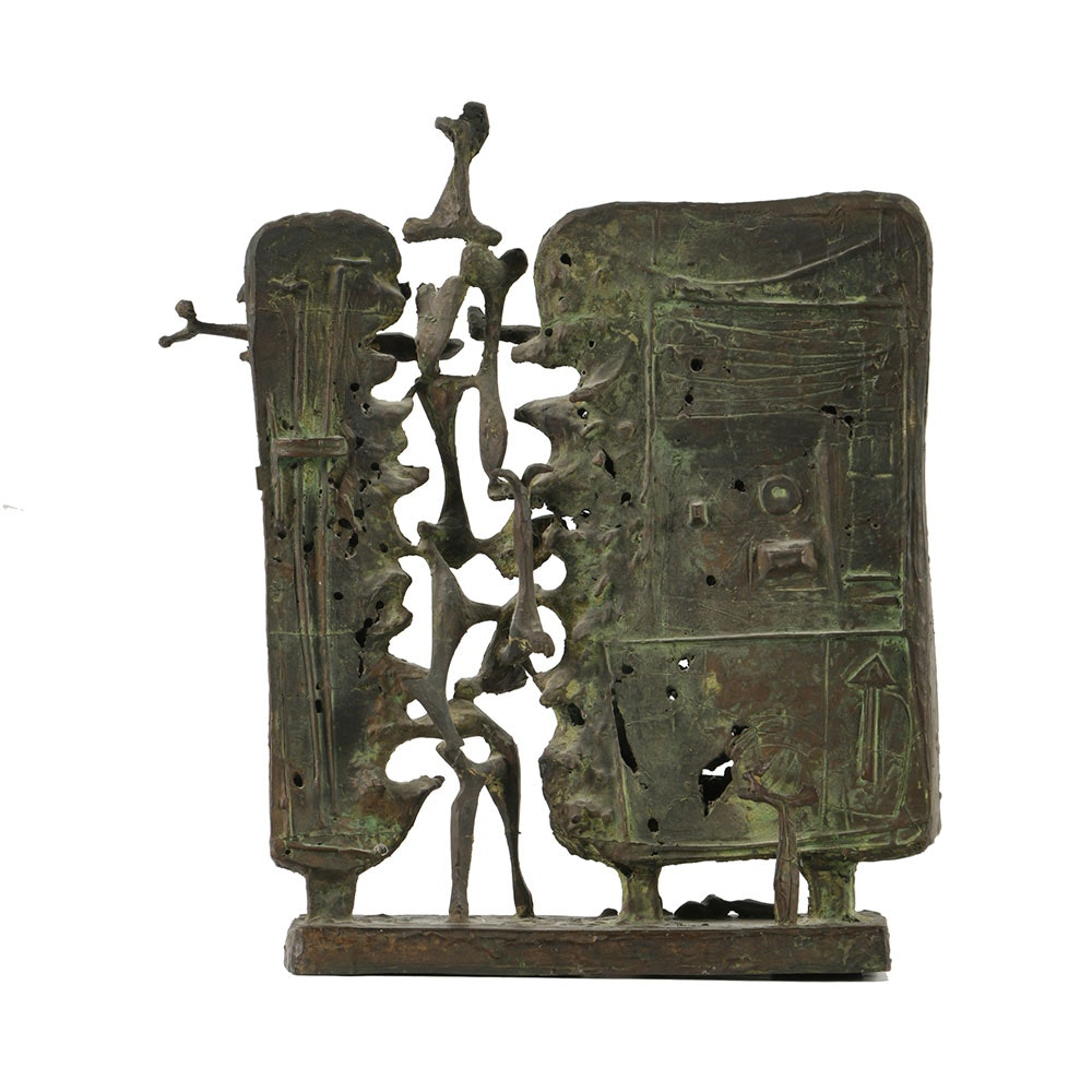 "Thomas McClure Abstract Bronze Sculpture, ""The Wall"""