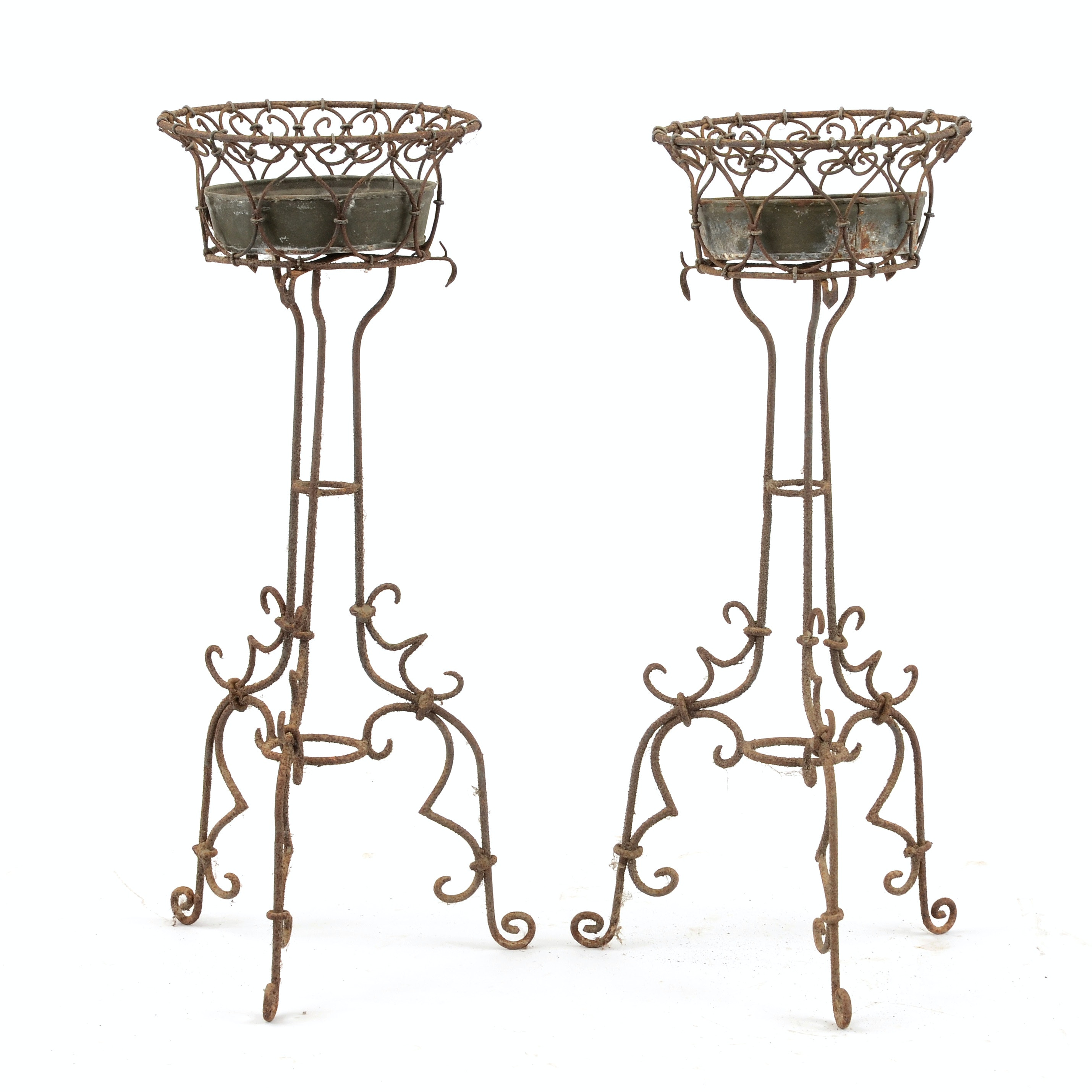Pair of Wrought Iron Wire Planters