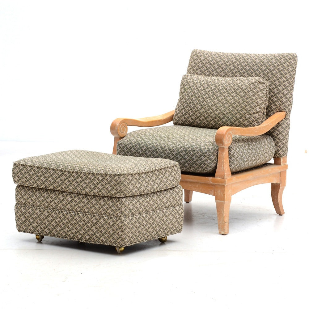 Contemporary Armchair with Ottoman