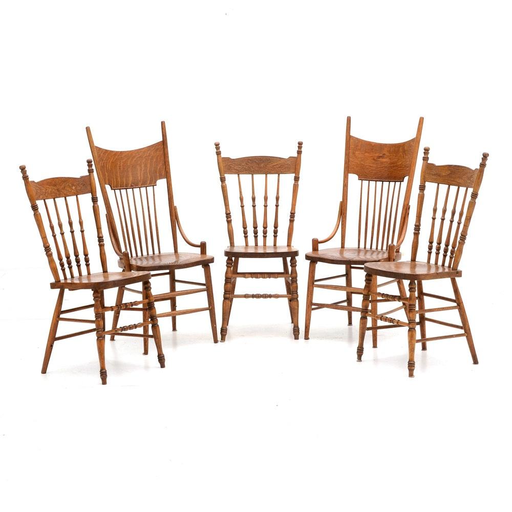 Five Assembled Oak Kitchen Chairs