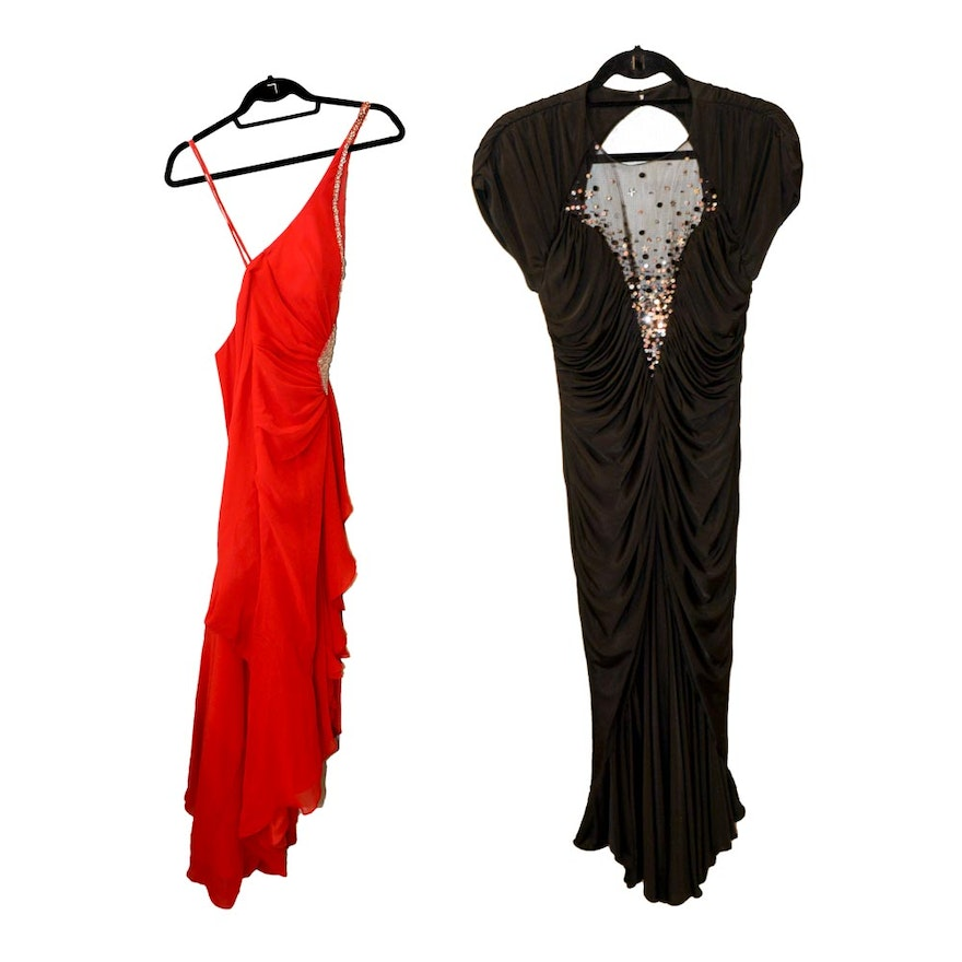 Black Lillie Rubin Evening Gown and Red Dress : EBTH