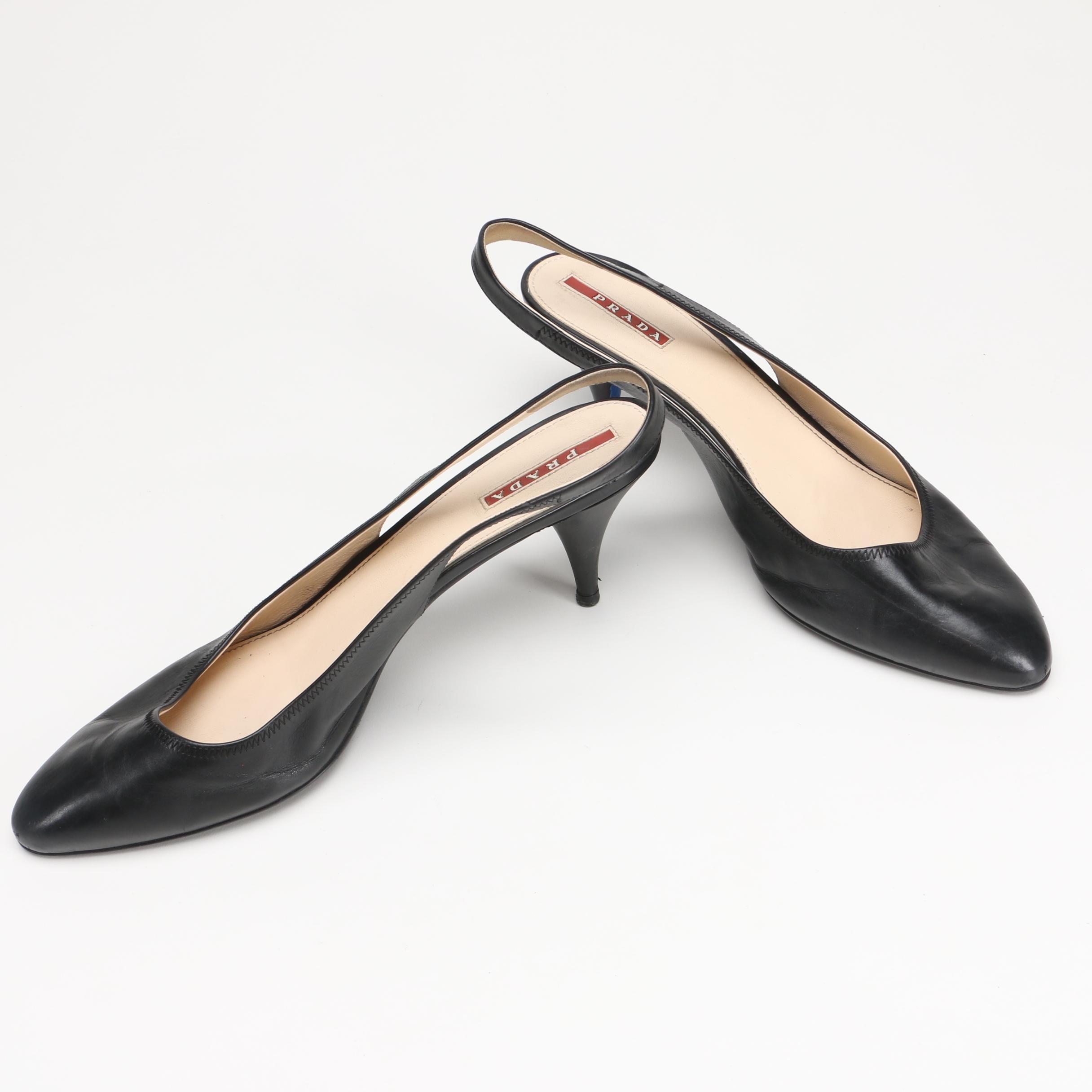 Prada Black Leather Slingbacks