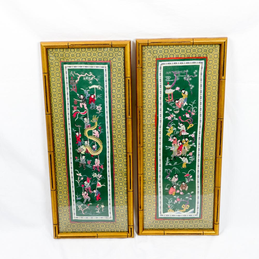 Pair of Framed Silk Chinese Embroideries