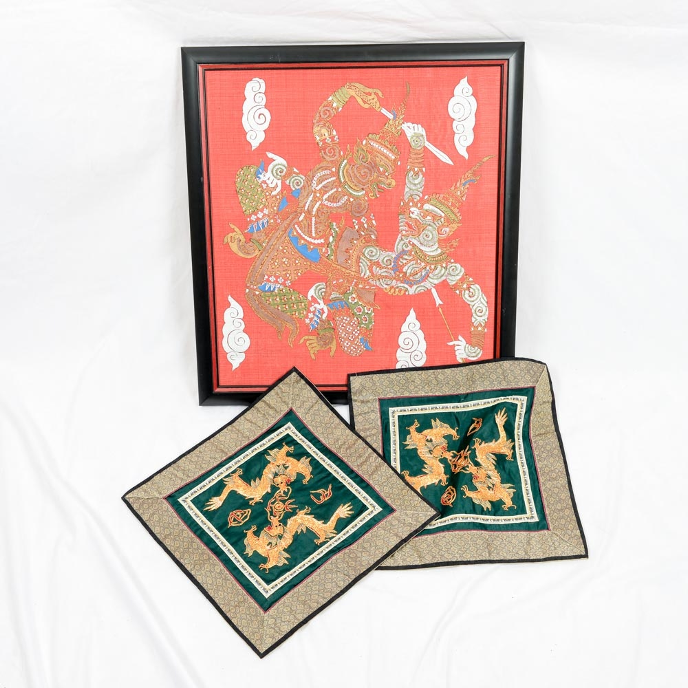 Framed Thai Embroidery and Chinese Embroideries