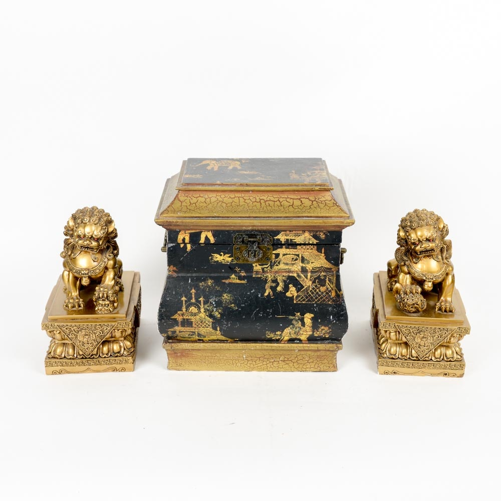 Chinoiserie Jewelry Box and Guardian Lions