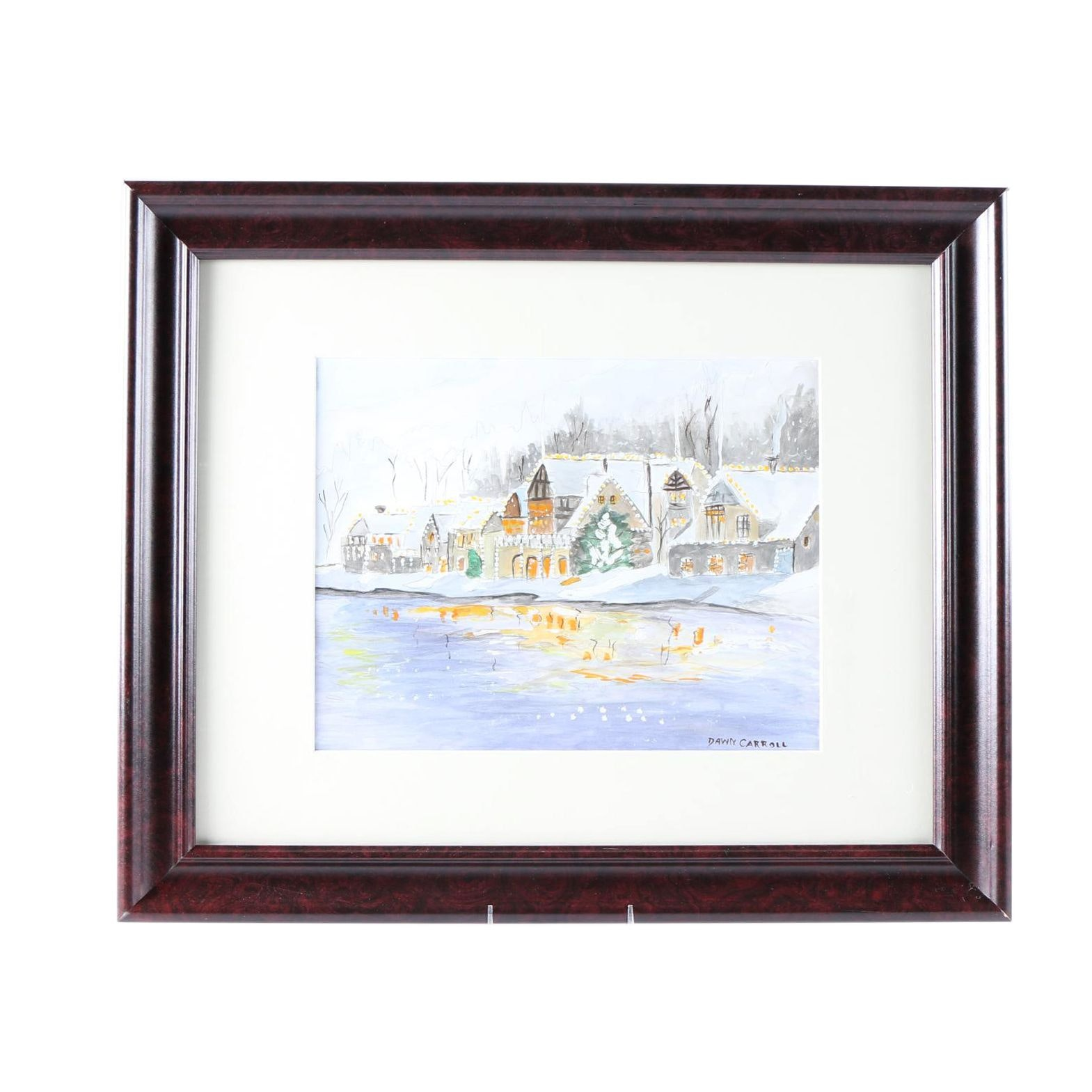Dawn Carroll Mixed Media Painting Depicting a Winter Village