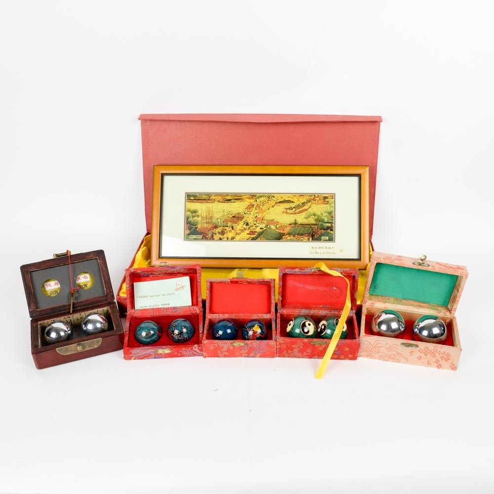 Framed Chinese Print and Sets of Baoding Balls