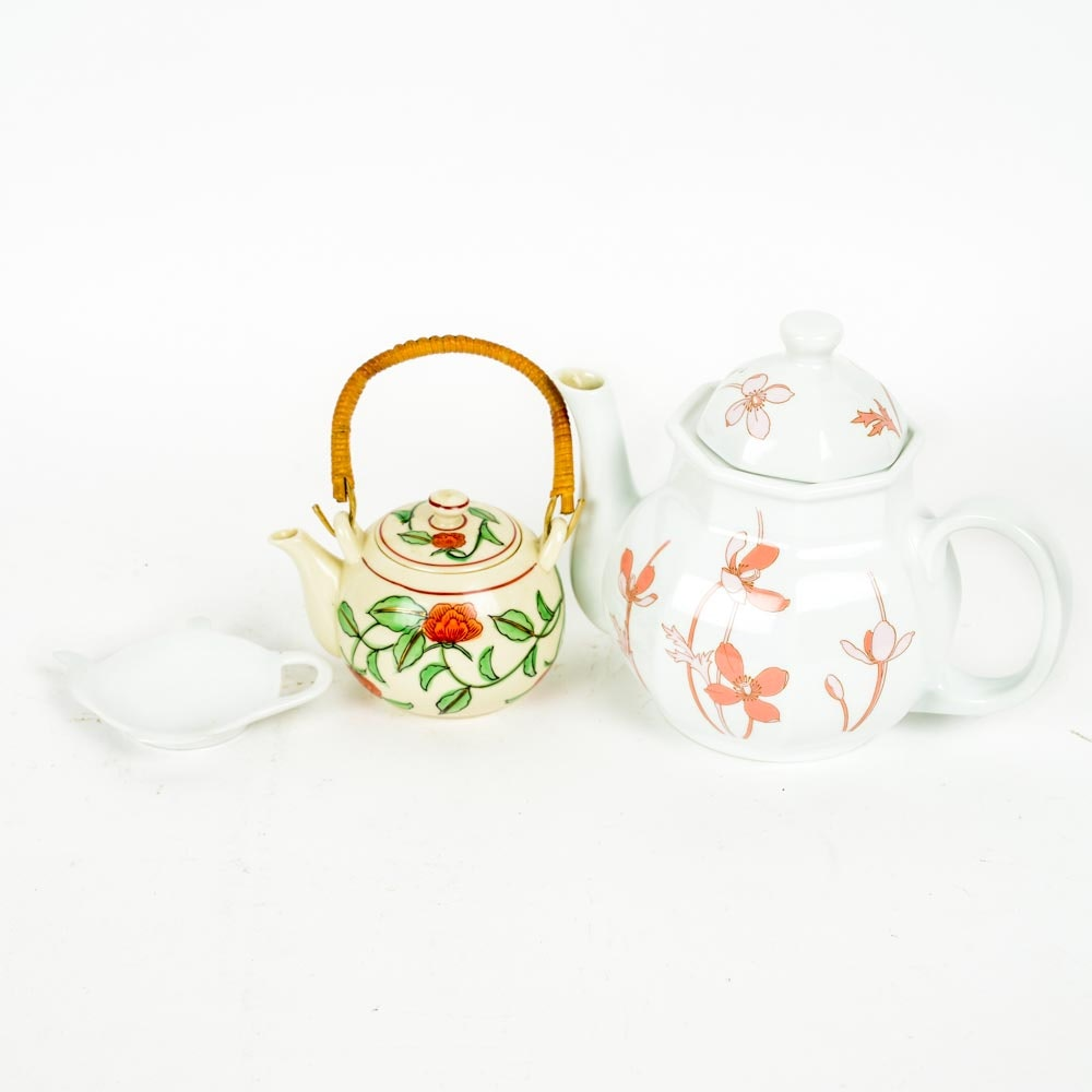 Two Hand Painted Tea Pots and Tea Spoon Rest