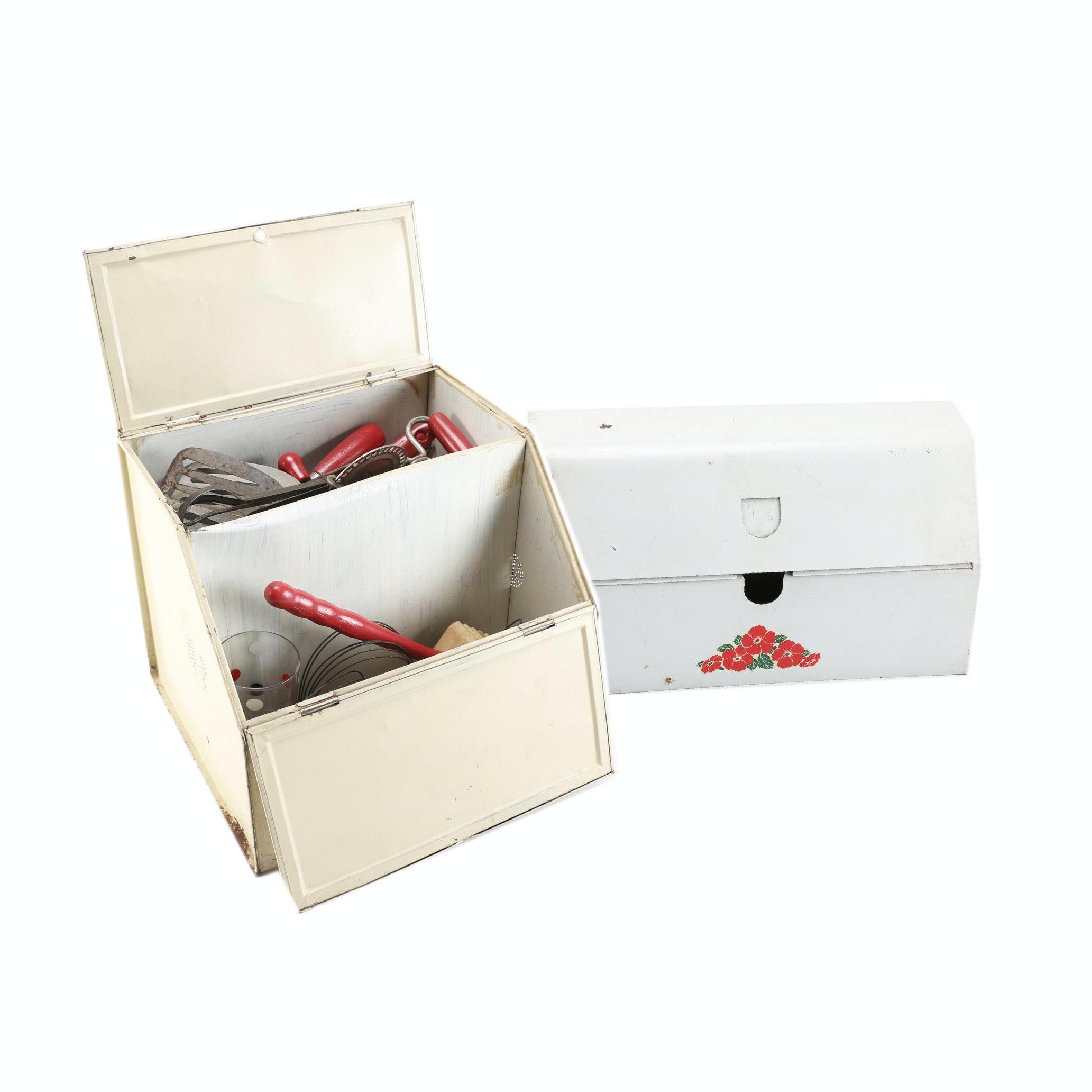 Collection of Vintage Utensils and Kitchen Storage