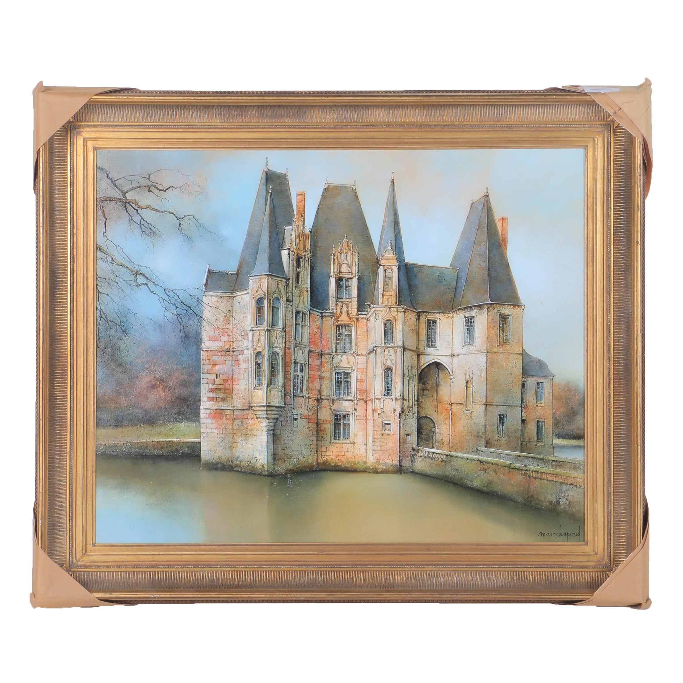 """Marc Chapaud Oil on Canvas """"Château d'Ô a Mortrée (Orne)"""""""