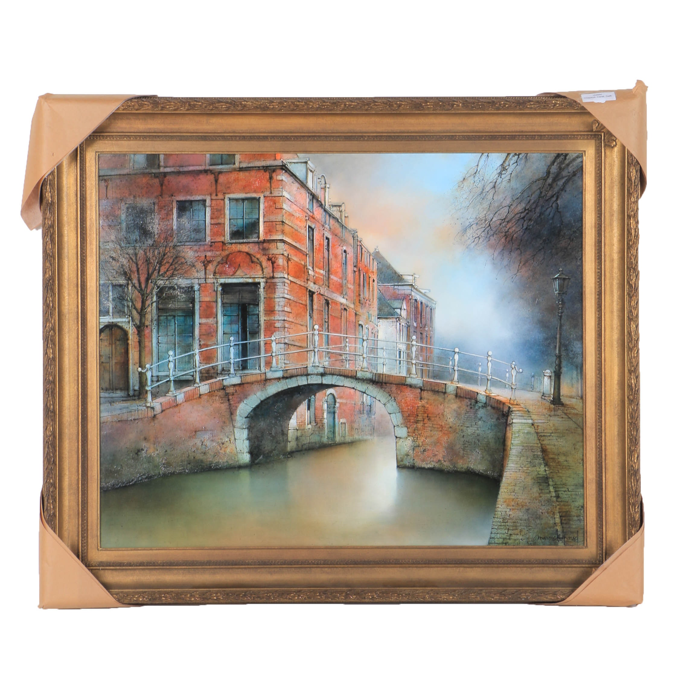 """Marc Chapaud Oil Painting on Canvas """"Pays-Bas Canal a Delft"""""""