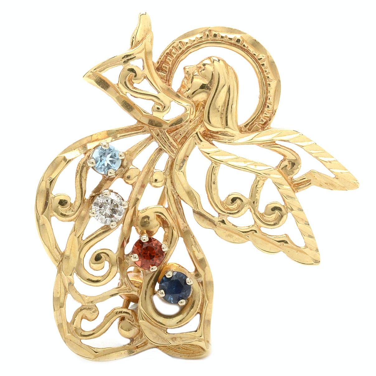 14K Yellow Gold Diamond, Aquamarine, Garnet, and Sapphire Pin