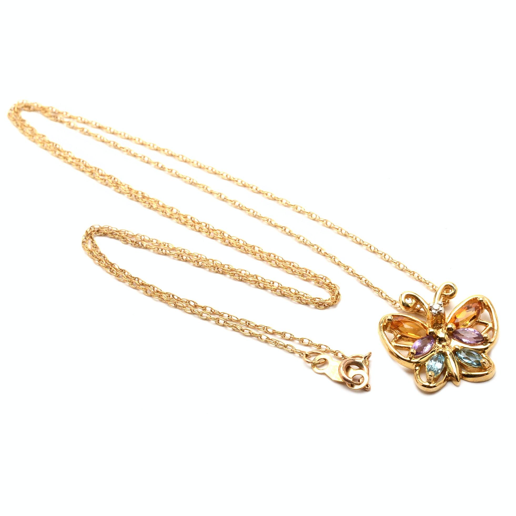 10K Yellow Gold Diamond, Citrine, Amethyst, Blue Topaz Butterfly Necklace