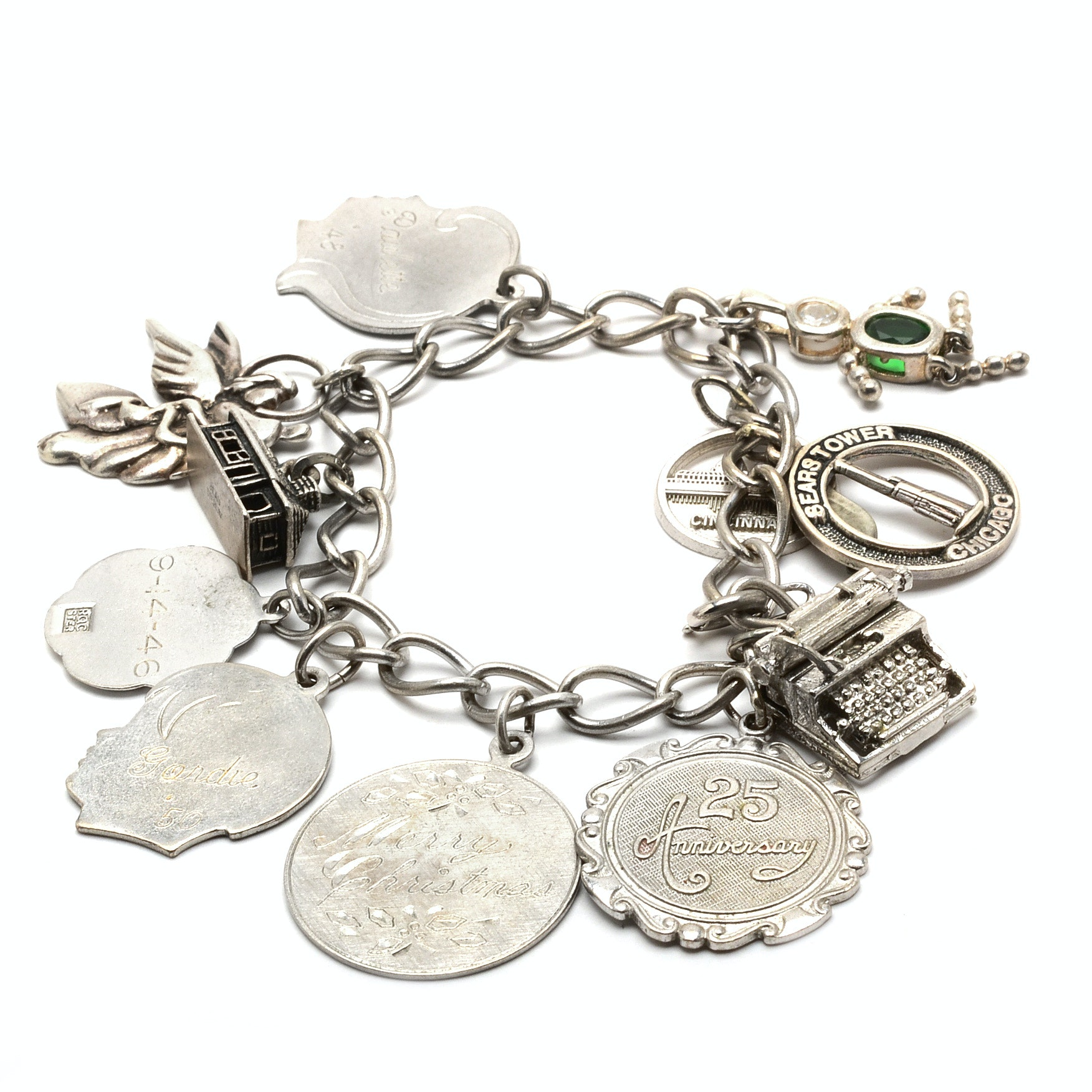 Sterling Silver Cable Linked Bracelet with Charms