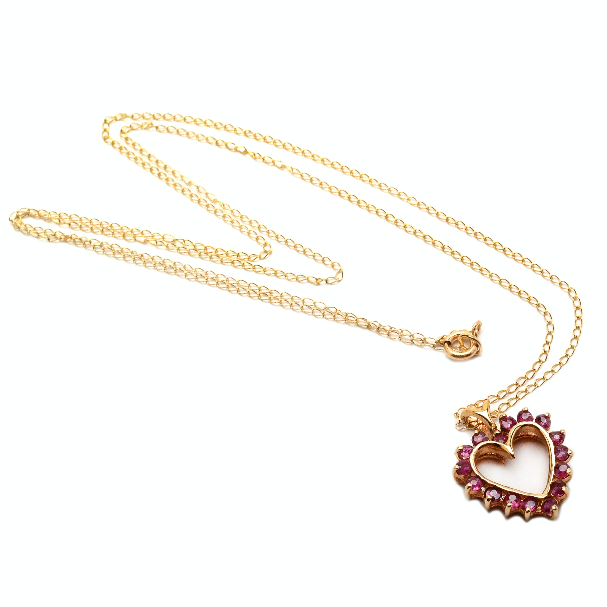 10K Yellow Gold Ruby Heart Pendant, Chain with 14K Clasp