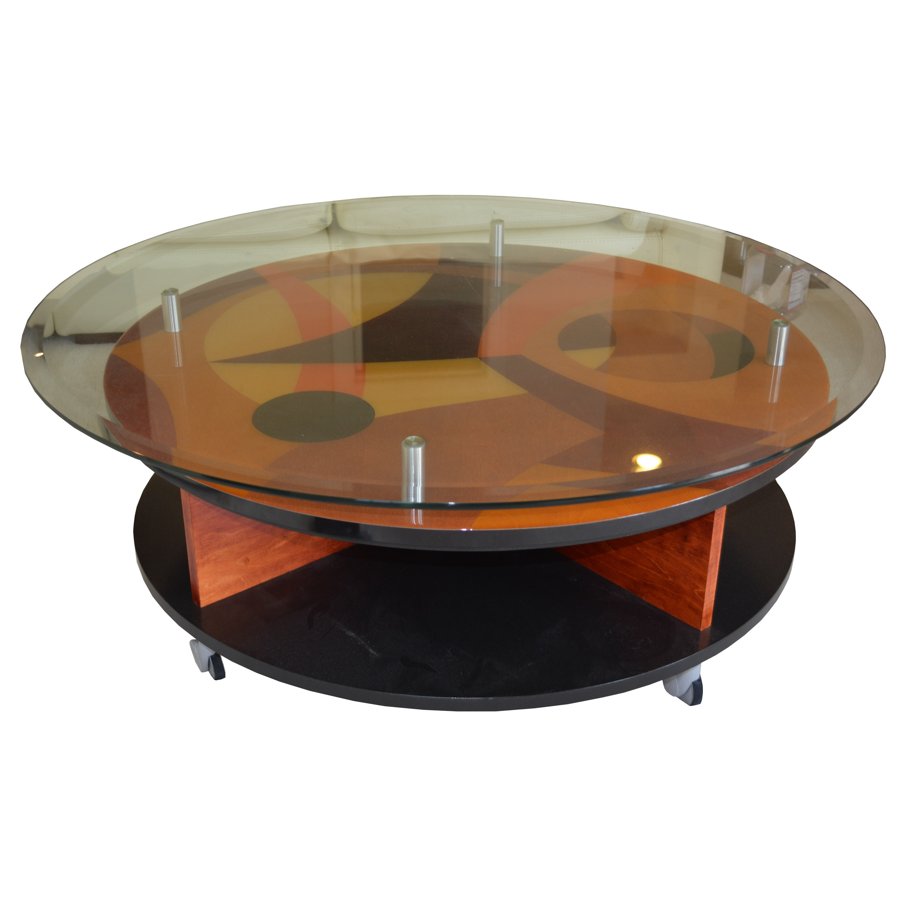 Modern Marquetry and Glass Coffee Table