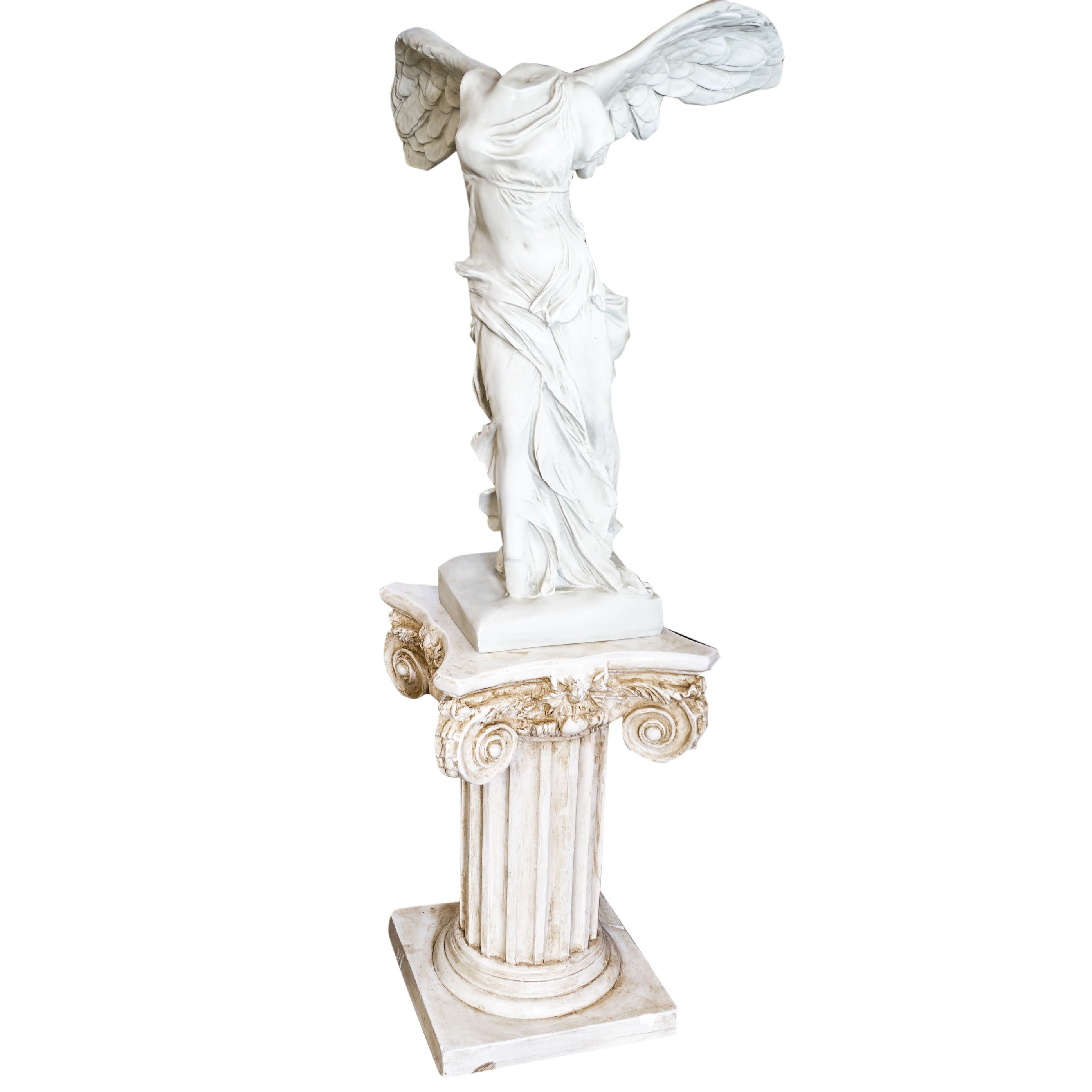 """""""Winged Victory of Samothrace"""" Replica Statue and Pillar"""