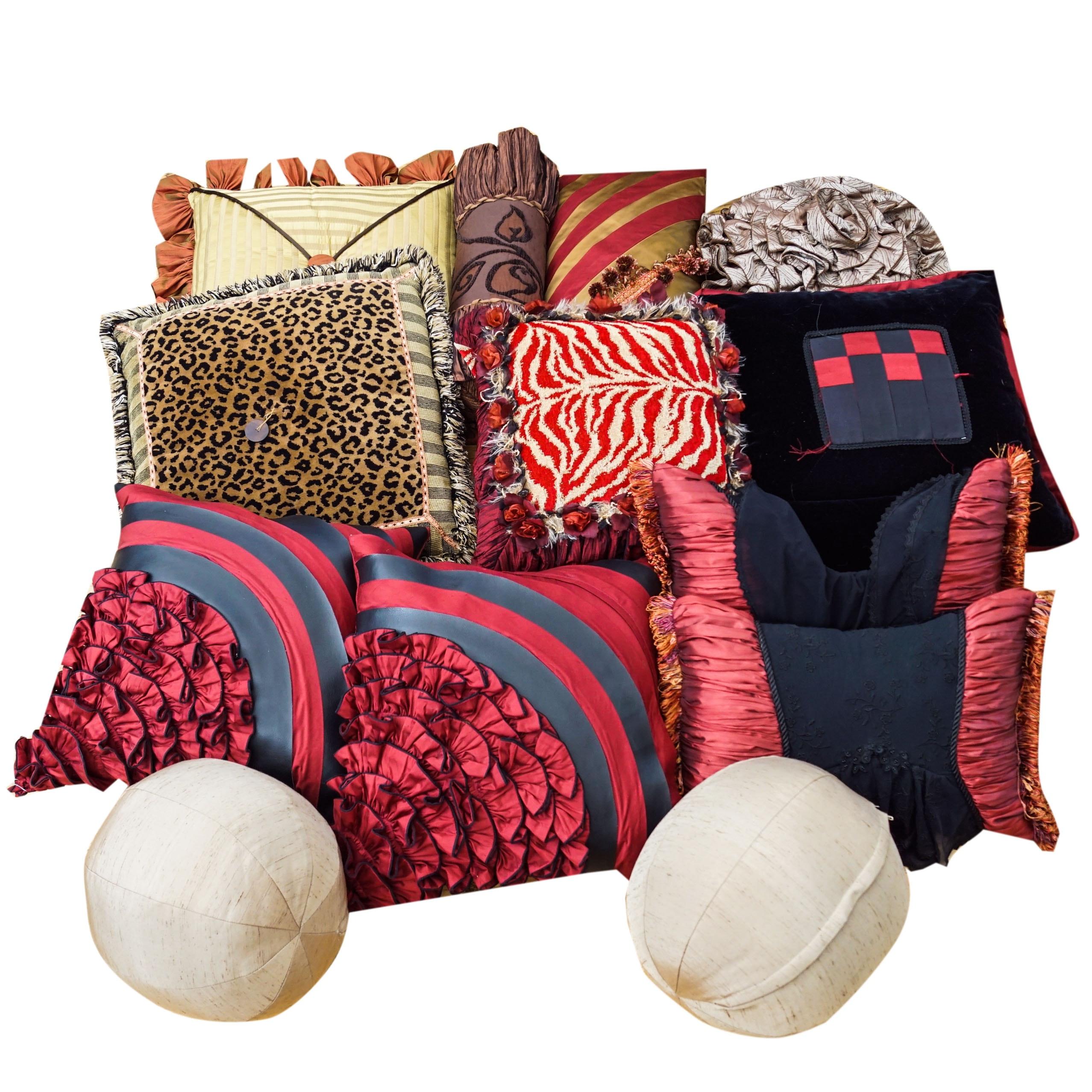 Collection of Decorative Throw Pillows.