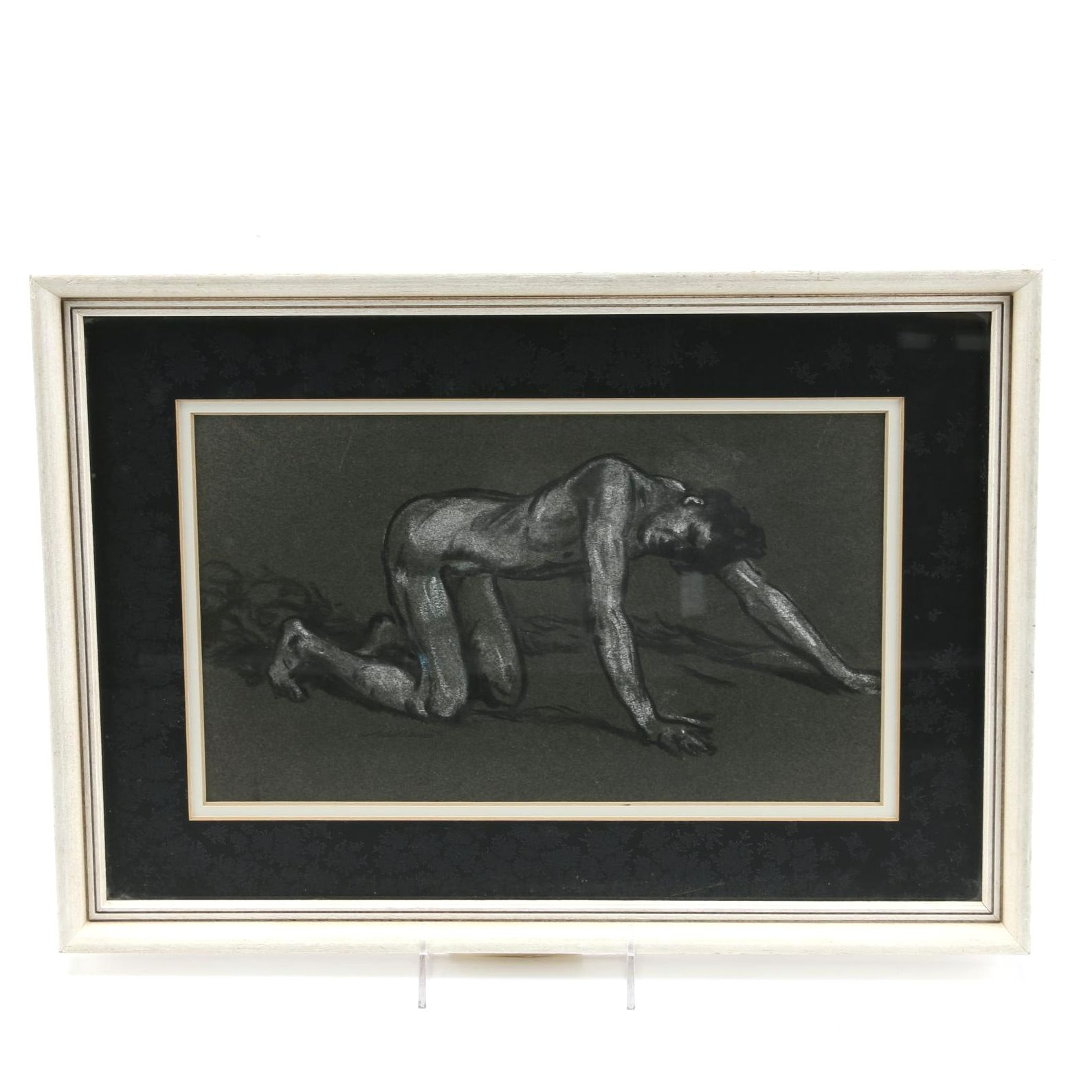"""Arthur B. Davies Attributed Chalk and Charcoal Drawing """"Inhalation"""""""