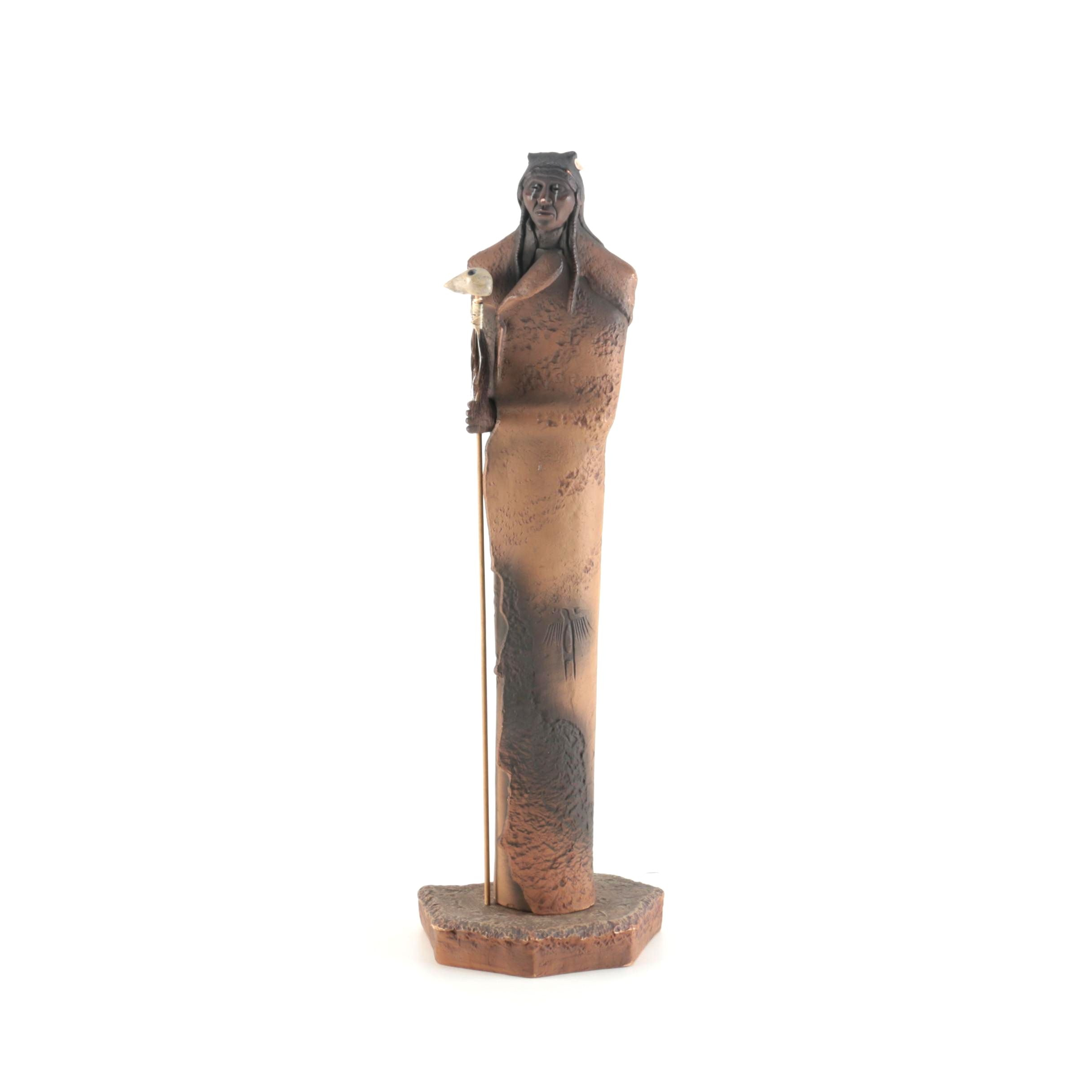 Cast Statuette of a Native American Figure