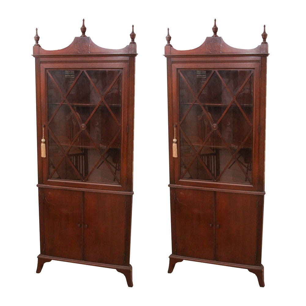 Pair of American Federal Style China Cabinets