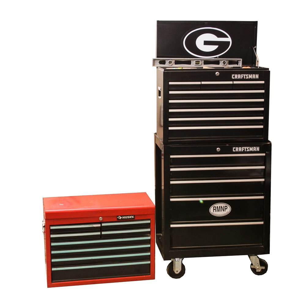 Craftsman and Husky Tool Chests and Variety of Tools