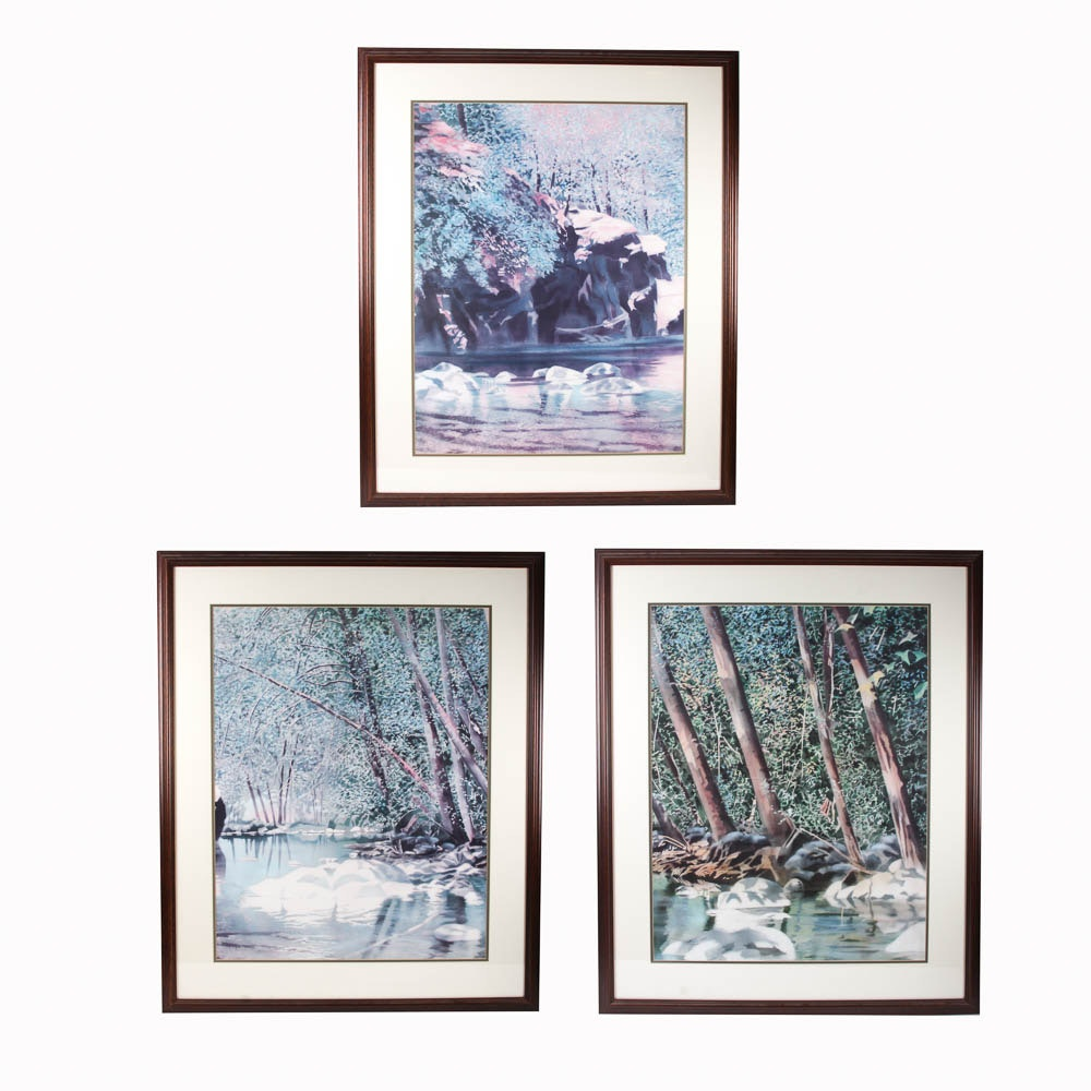 Set of Three Nature Themed Offset Lithographic Prints