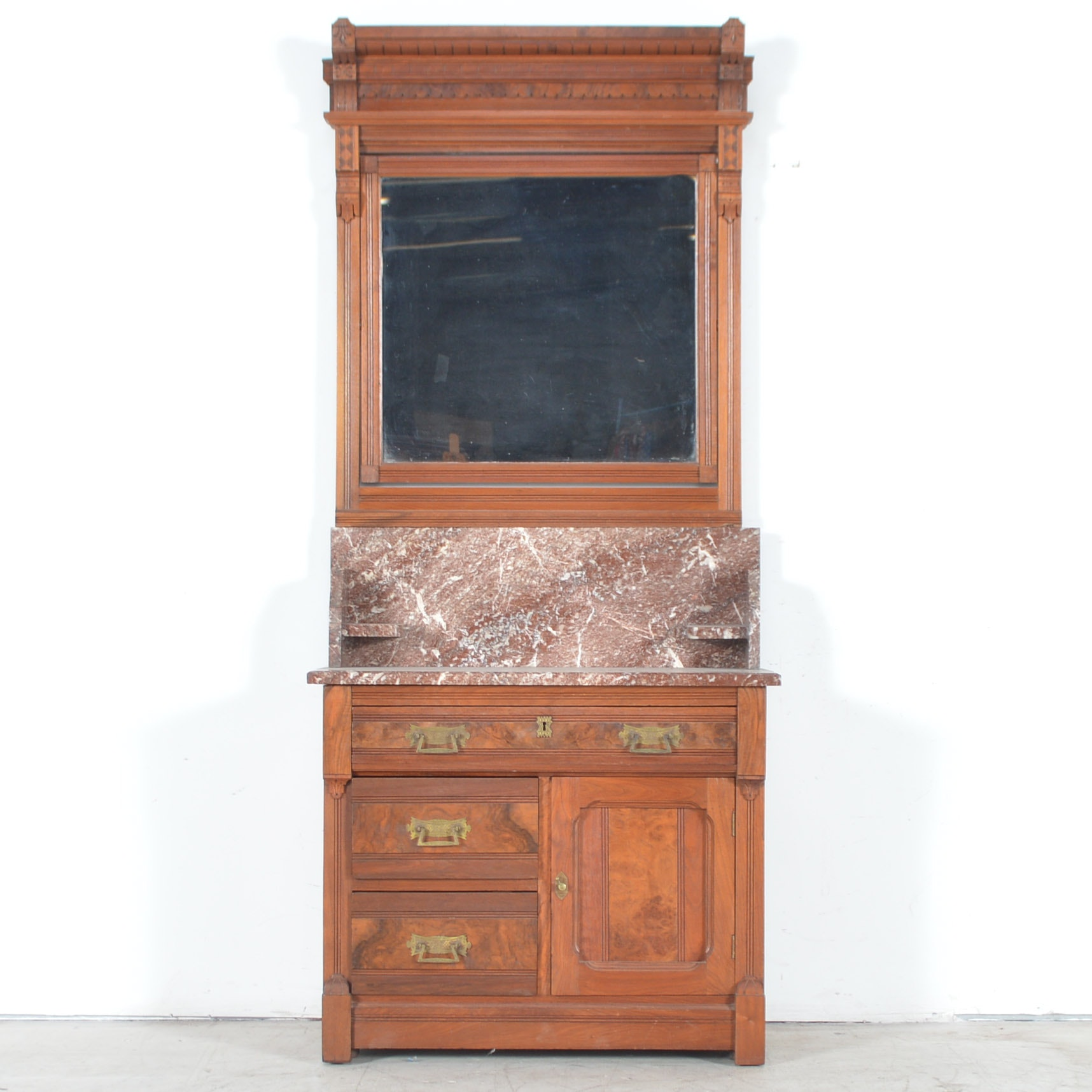 Antique Eastlake Marble-Topped Washstand with Mirror
