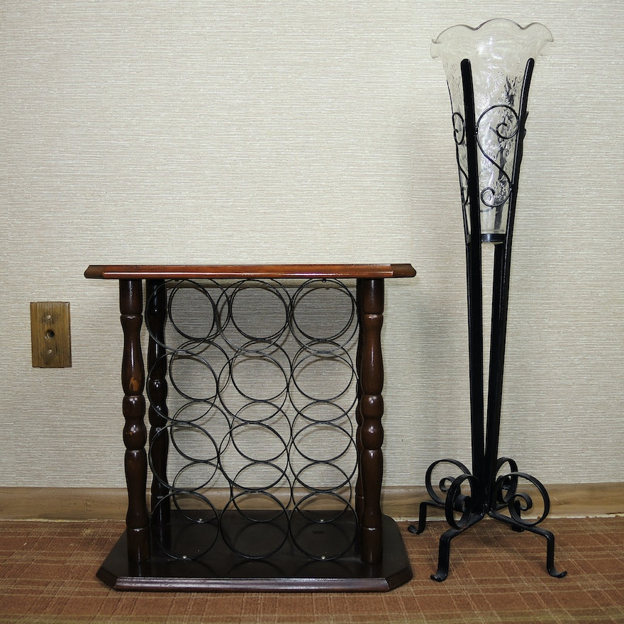 Wine Rack Wrought Iron Stand With Glass Vase Ebth