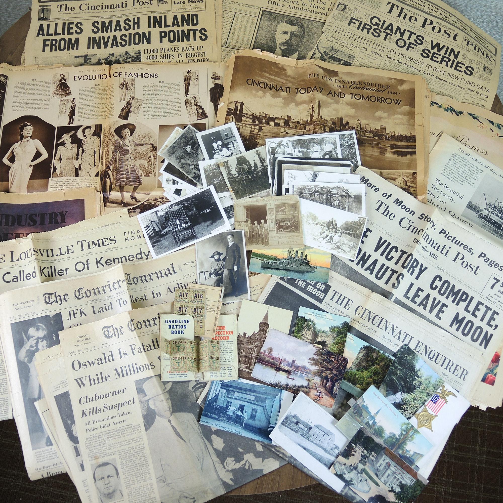 WWII Era Ration Cards, Vintage Newspapers, Postcards, Photographs