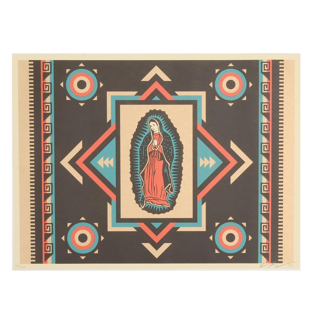 """Ernesto Yerena Signed Limited Edition 2015 Serigraph """"Virgen De Las Estrellas"""""""