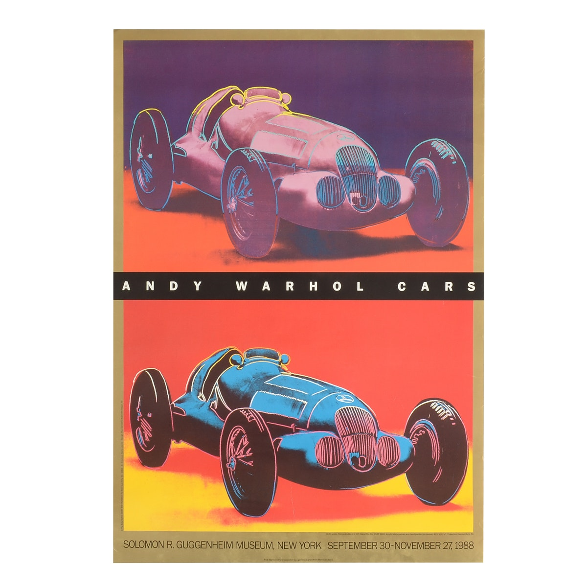 "Andy Warhol ""Cars"" 1988 Offset Lithograph Exhibition Poster"