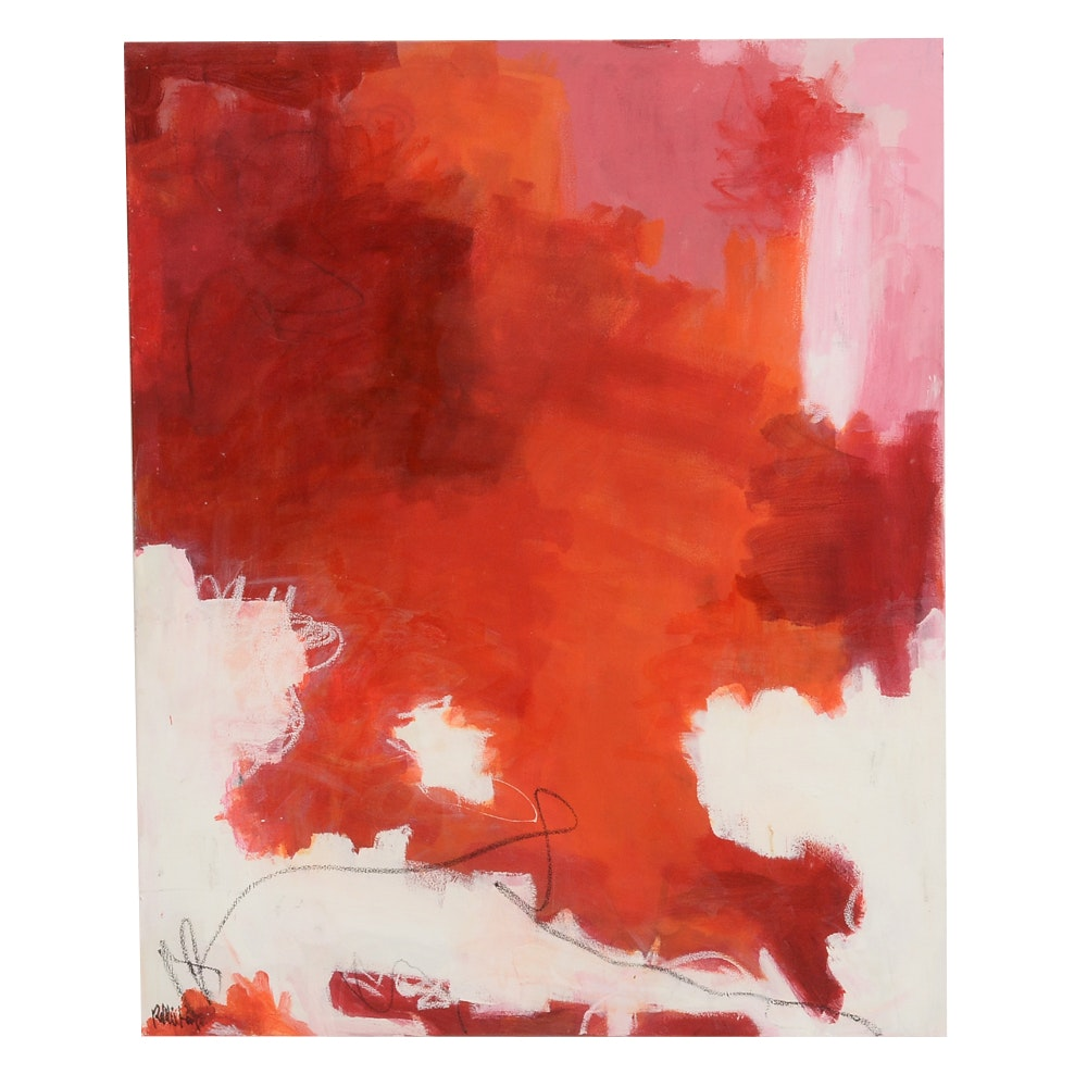 "Robbie Kemper Original Large Acrylic on Canvas ""Pink White Red"""