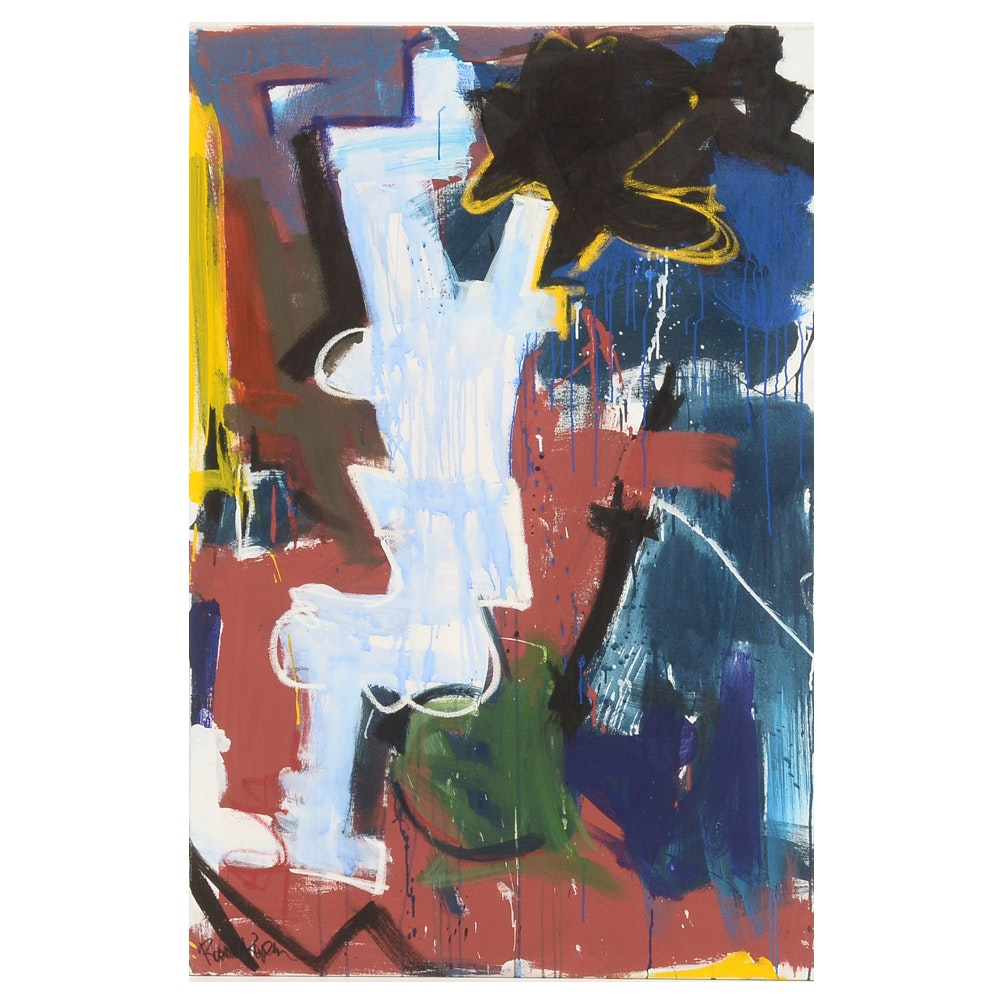 "Robbie Kemper Original Large-Scale Acrylic on Canvas ""Blue Wash on White Shape"""